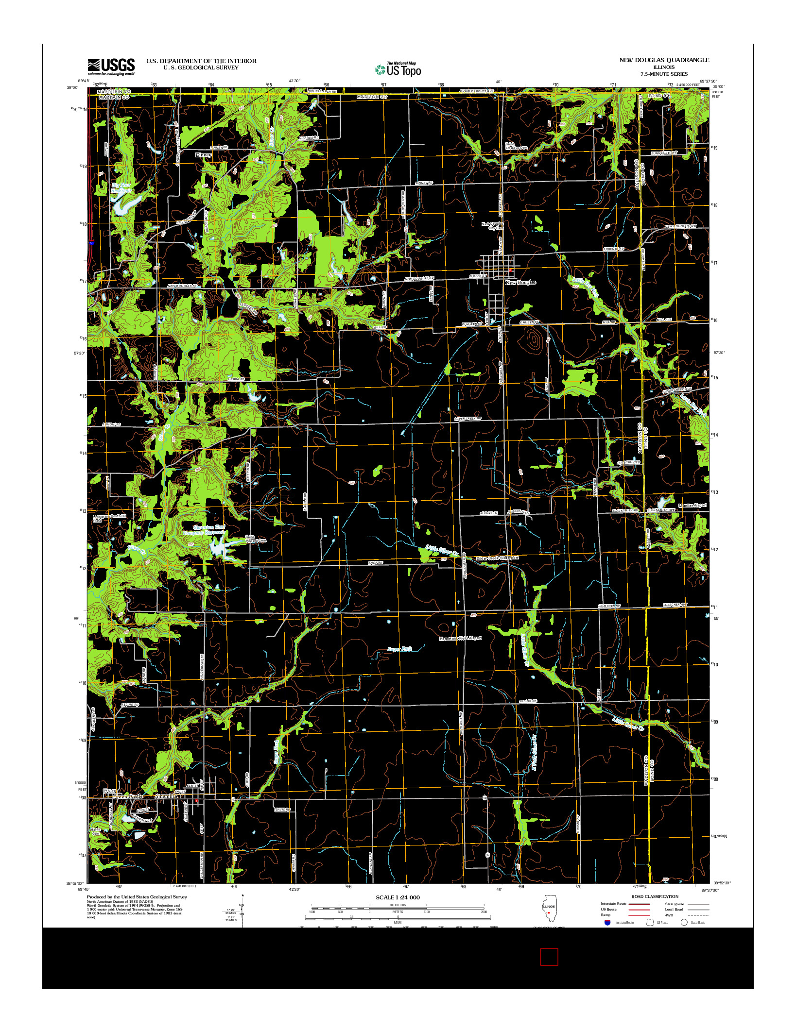 USGS US TOPO 7.5-MINUTE MAP FOR NEW DOUGLAS, IL 2012