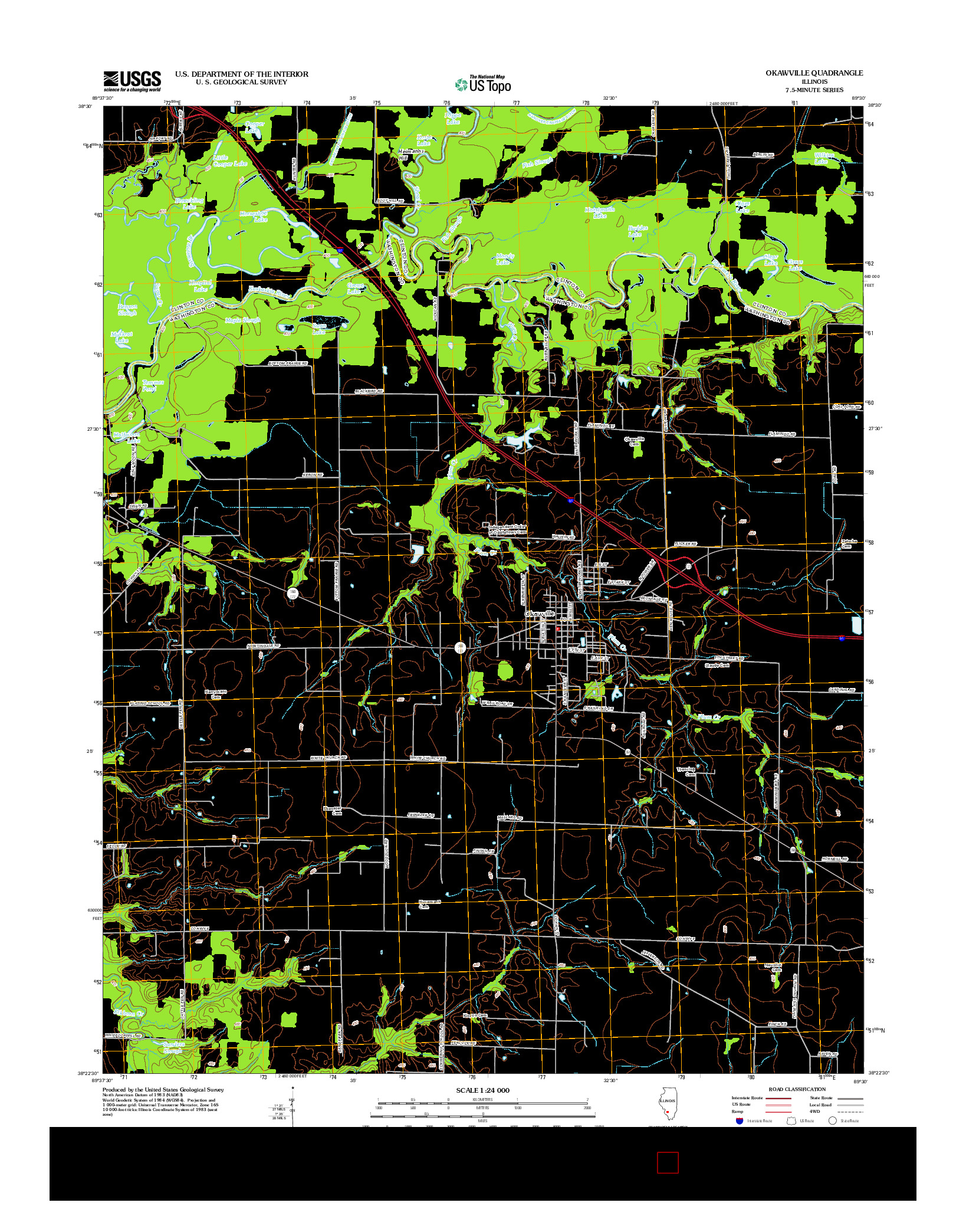 USGS US TOPO 7.5-MINUTE MAP FOR OKAWVILLE, IL 2012
