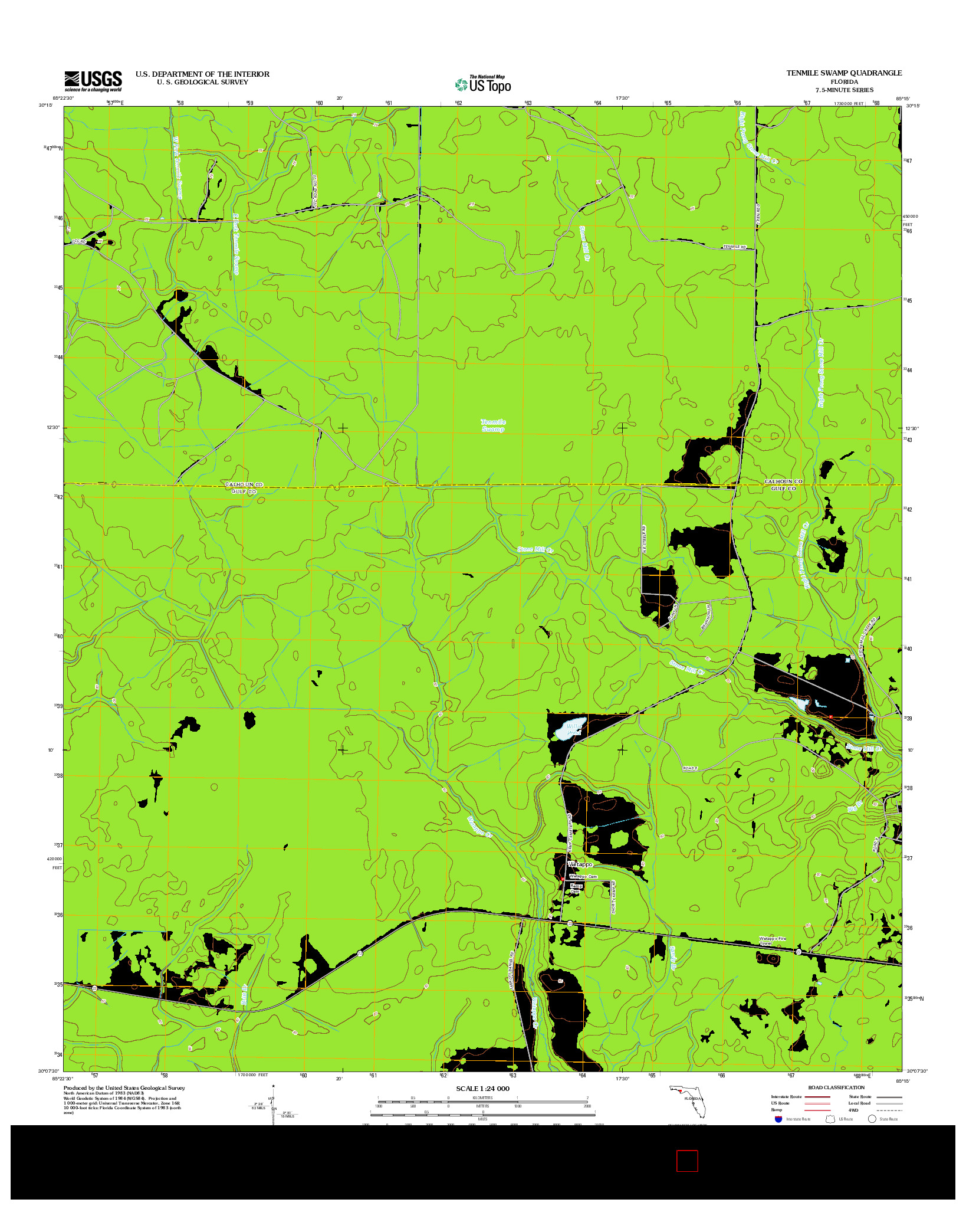 USGS US TOPO 7.5-MINUTE MAP FOR TENMILE SWAMP, FL 2012