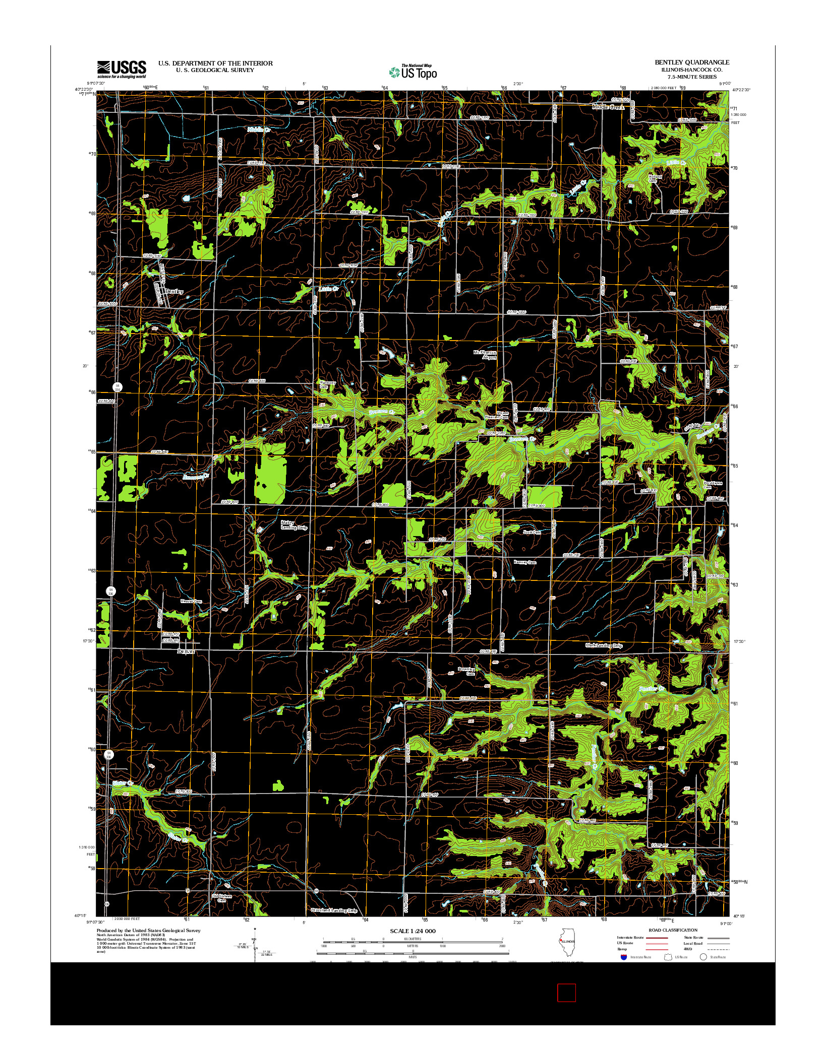 USGS US TOPO 7.5-MINUTE MAP FOR BENTLEY, IL 2012