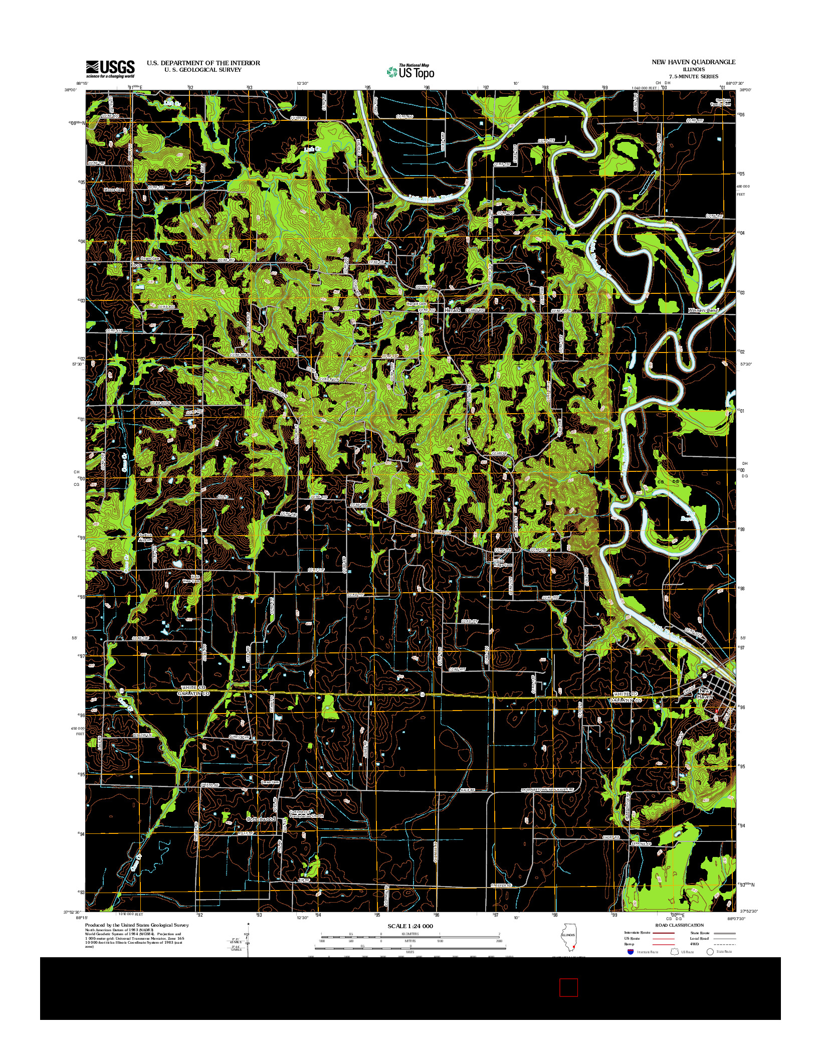 USGS US TOPO 7.5-MINUTE MAP FOR NEW HAVEN, IL 2012