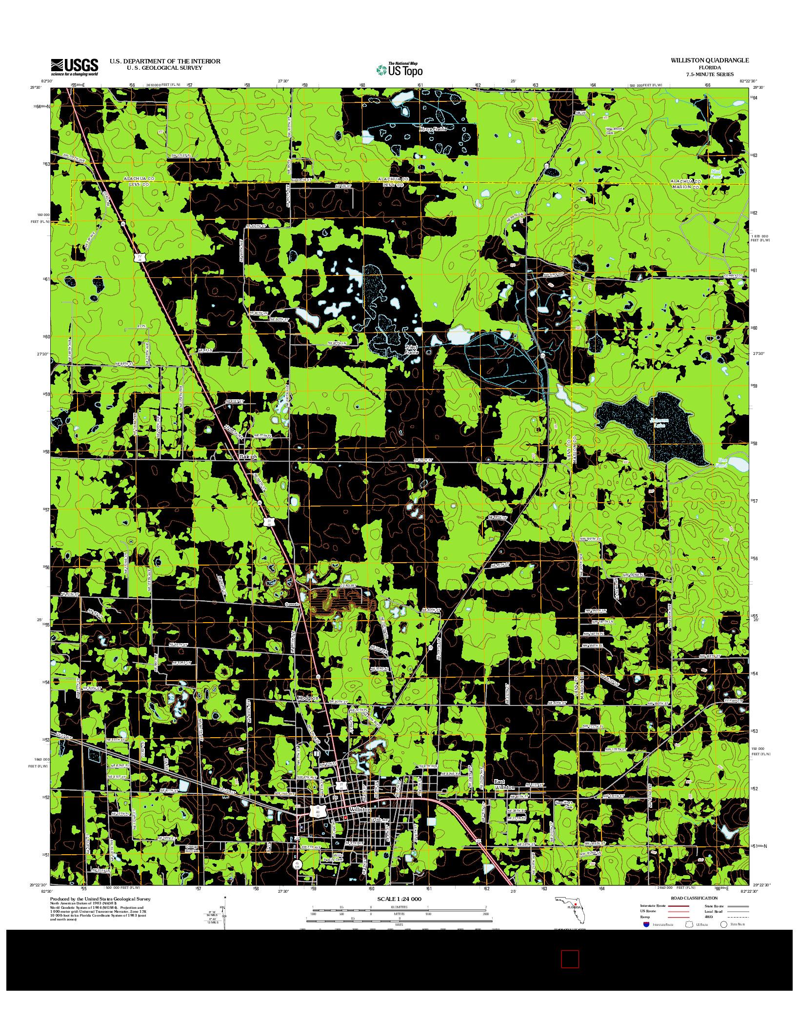 USGS US TOPO 7.5-MINUTE MAP FOR WILLISTON, FL 2012