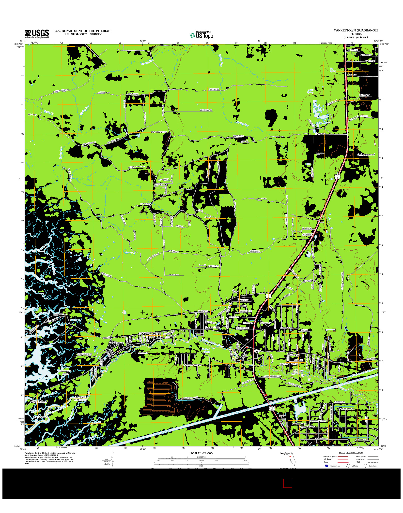 USGS US TOPO 7.5-MINUTE MAP FOR YANKEETOWN, FL 2012
