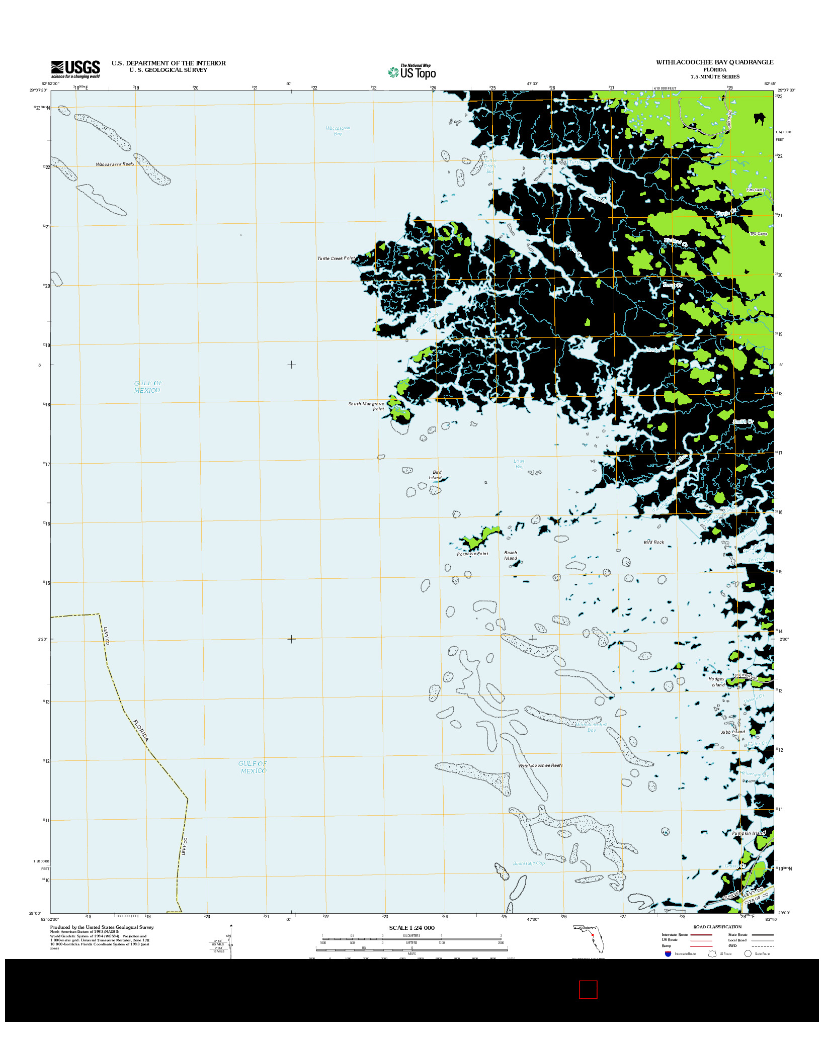 USGS US TOPO 7.5-MINUTE MAP FOR WITHLACOOCHEE BAY, FL 2012