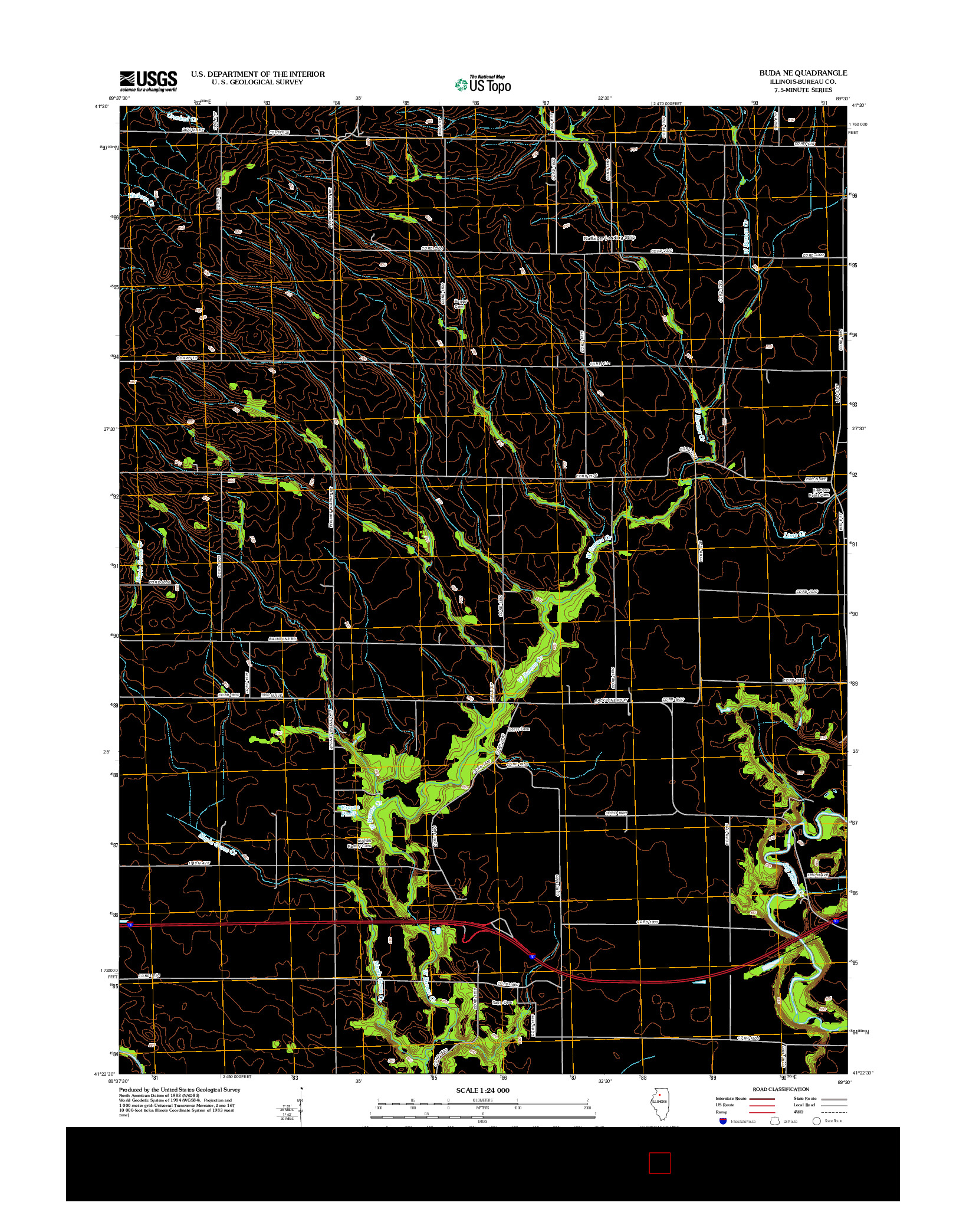 USGS US TOPO 7.5-MINUTE MAP FOR BUDA NE, IL 2012