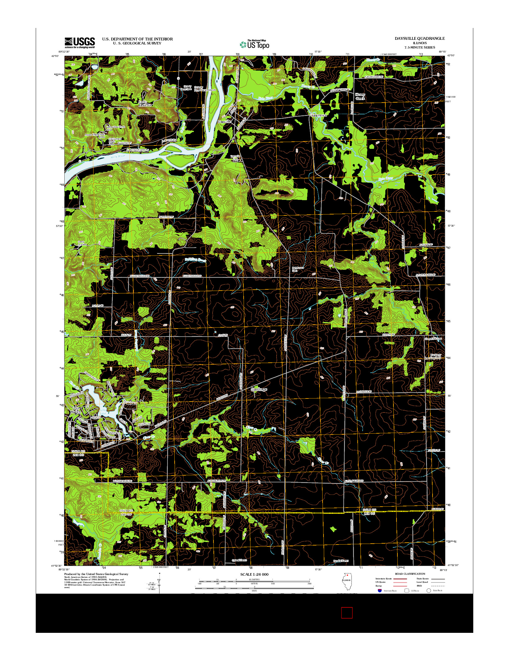 USGS US TOPO 7.5-MINUTE MAP FOR DAYSVILLE, IL 2012