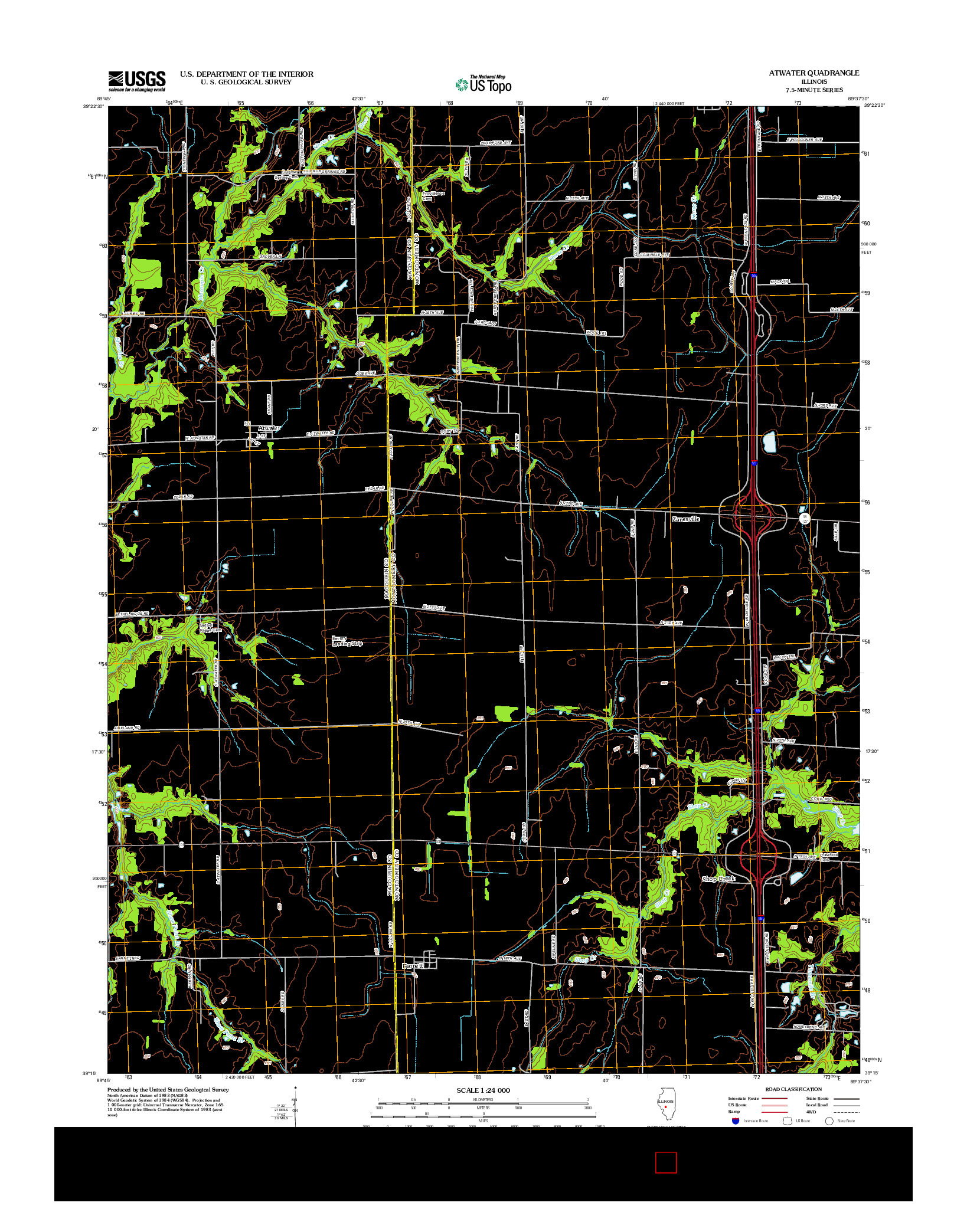 USGS US TOPO 7.5-MINUTE MAP FOR ATWATER, IL 2012