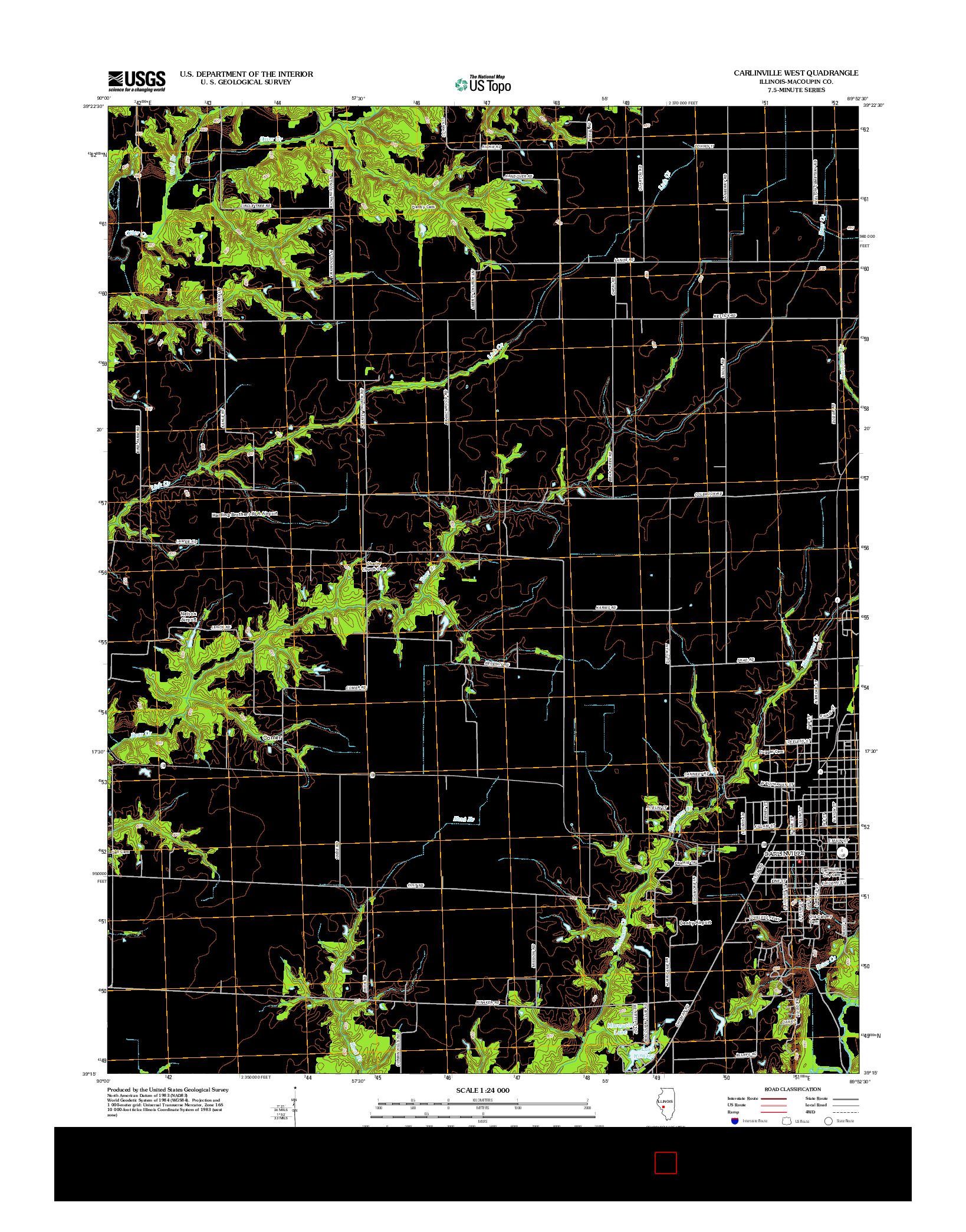 USGS US TOPO 7.5-MINUTE MAP FOR CARLINVILLE WEST, IL 2012