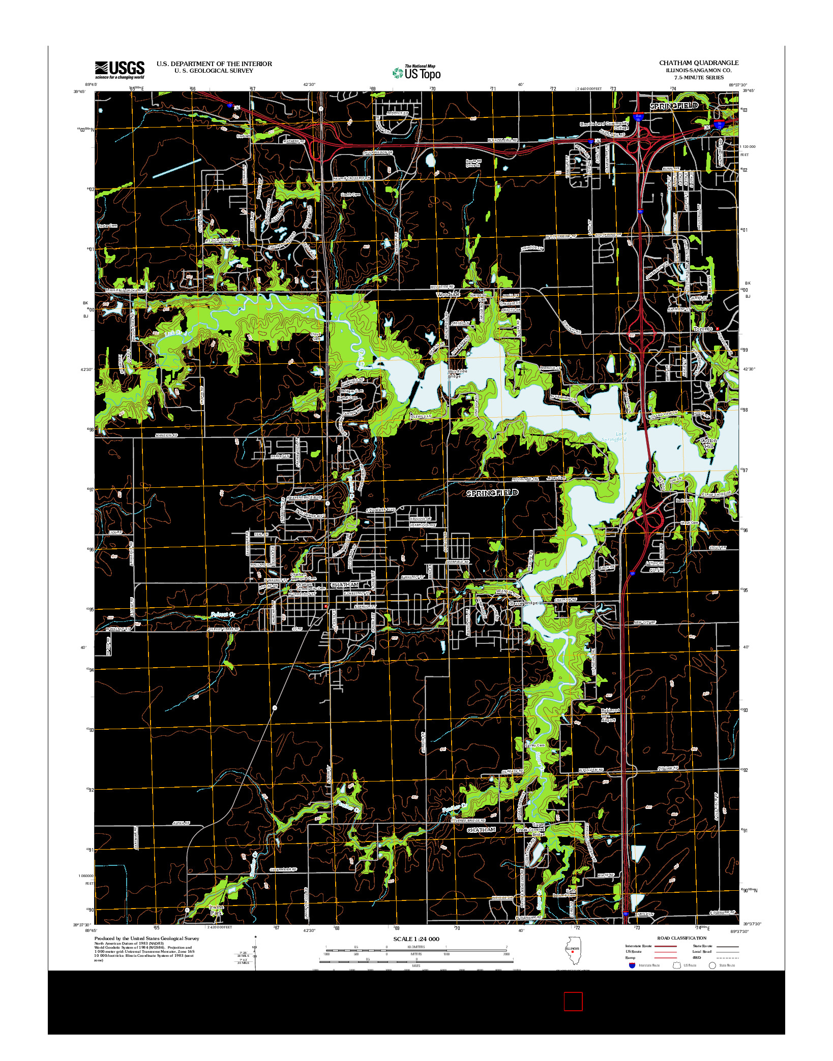 USGS US TOPO 7.5-MINUTE MAP FOR CHATHAM, IL 2012