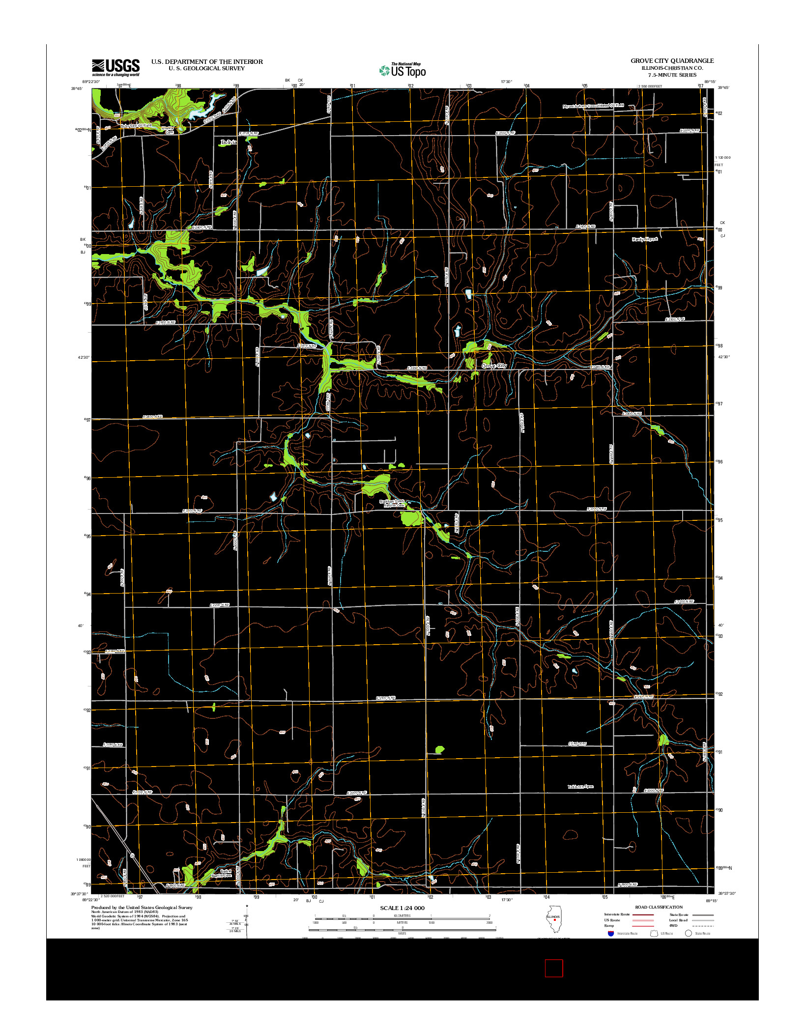 USGS US TOPO 7.5-MINUTE MAP FOR GROVE CITY, IL 2012