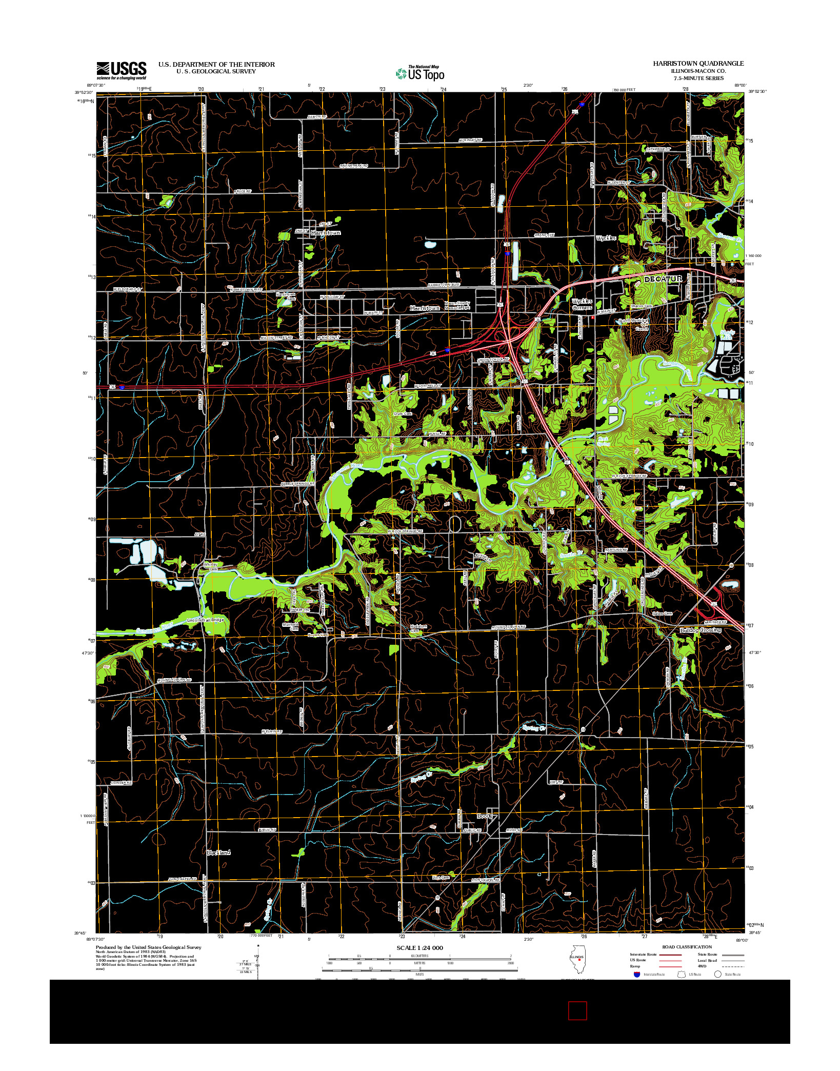 USGS US TOPO 7.5-MINUTE MAP FOR HARRISTOWN, IL 2012