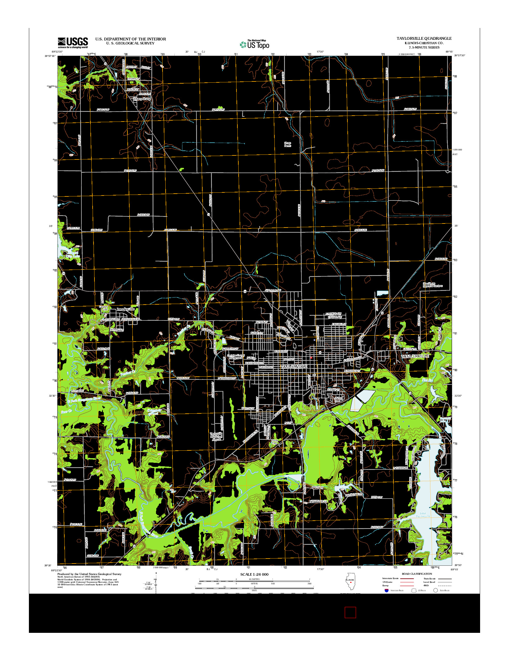 USGS US TOPO 7.5-MINUTE MAP FOR TAYLORVILLE, IL 2012