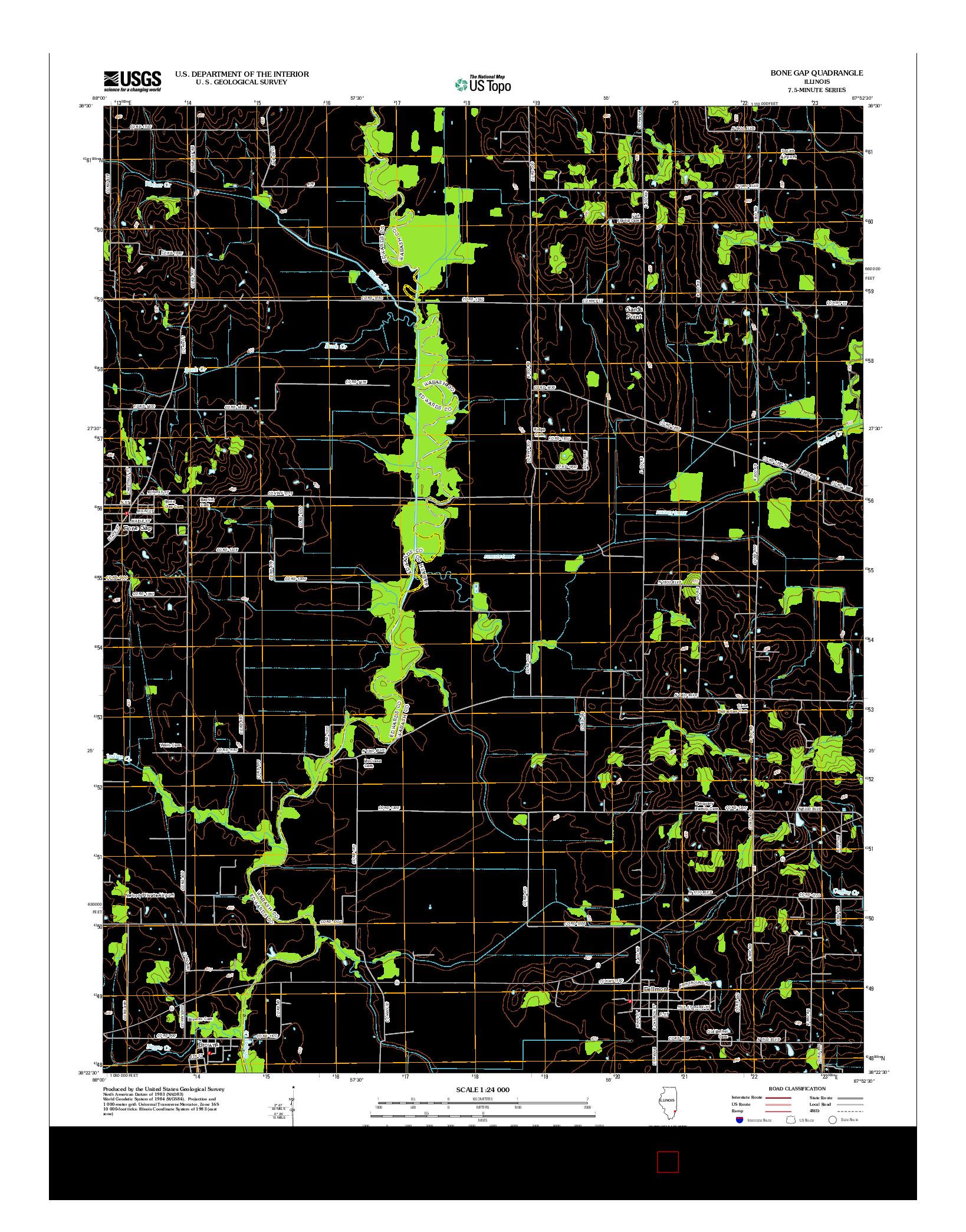 USGS US TOPO 7.5-MINUTE MAP FOR BONE GAP, IL 2012