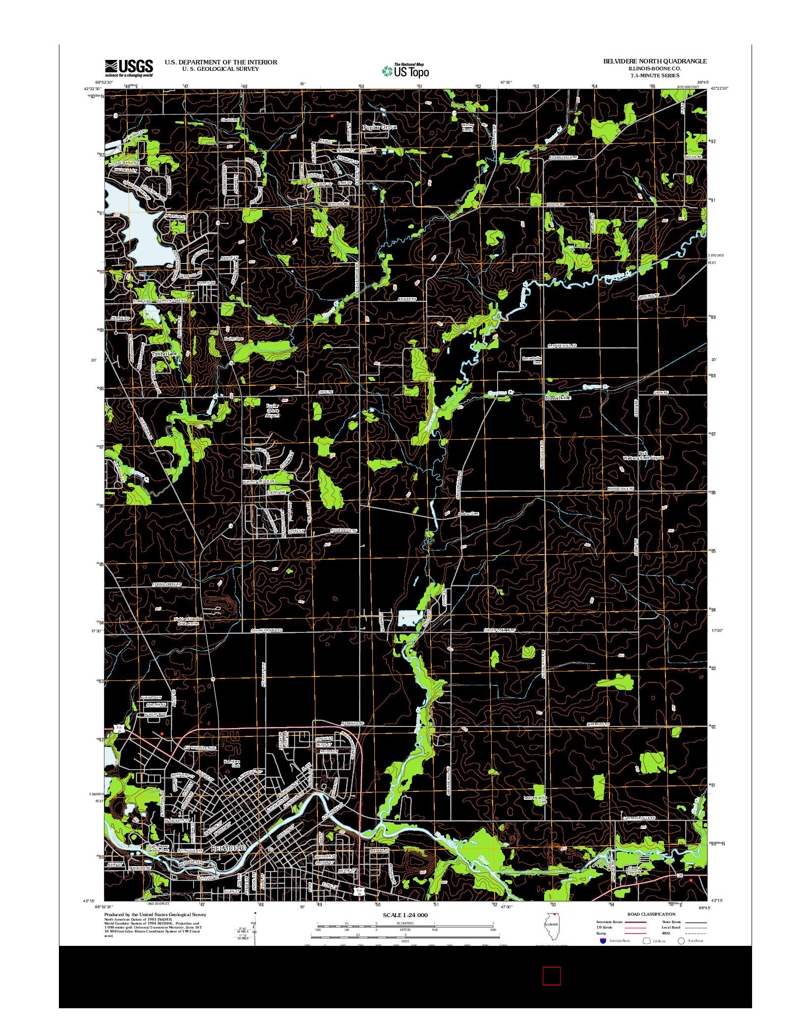 USGS US TOPO 7.5-MINUTE MAP FOR BELVIDERE NORTH, IL 2012
