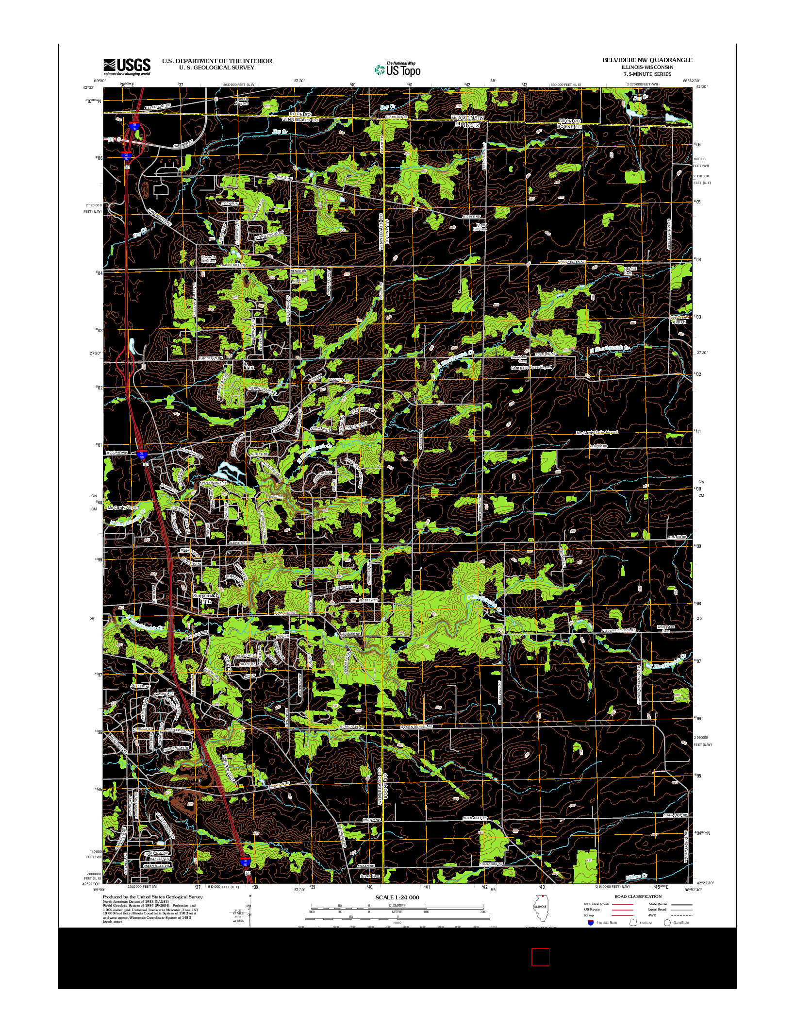 USGS US TOPO 7.5-MINUTE MAP FOR BELVIDERE NW, IL-WI 2012