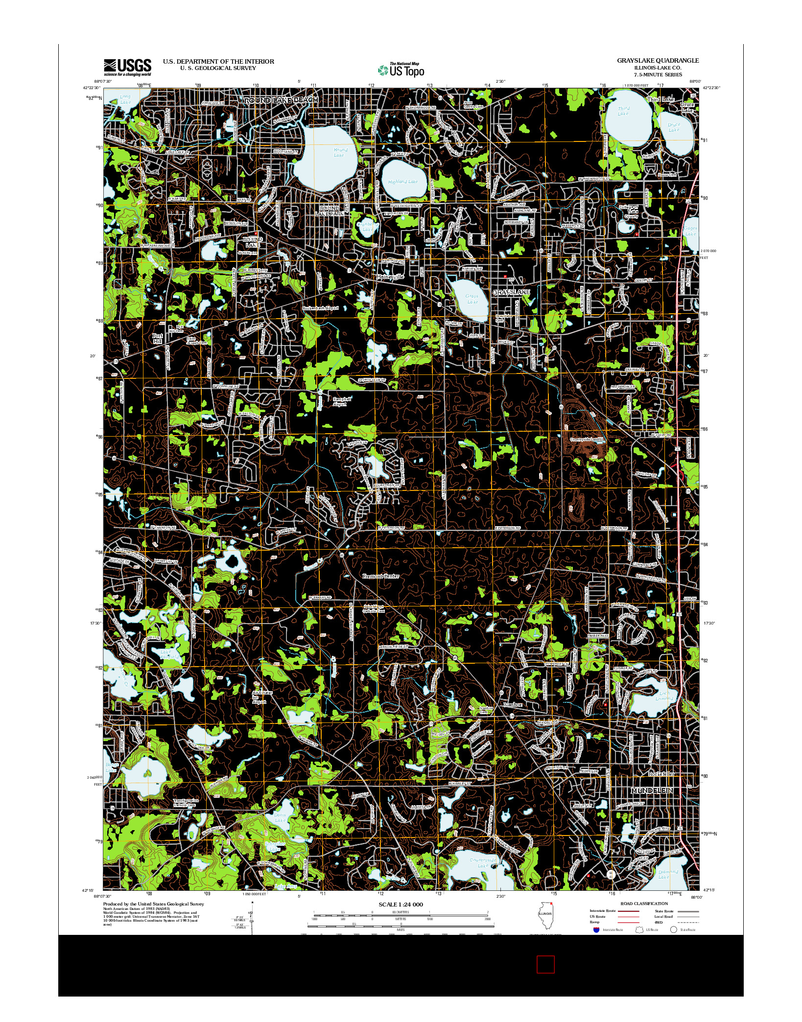 USGS US TOPO 7.5-MINUTE MAP FOR GRAYSLAKE, IL 2012