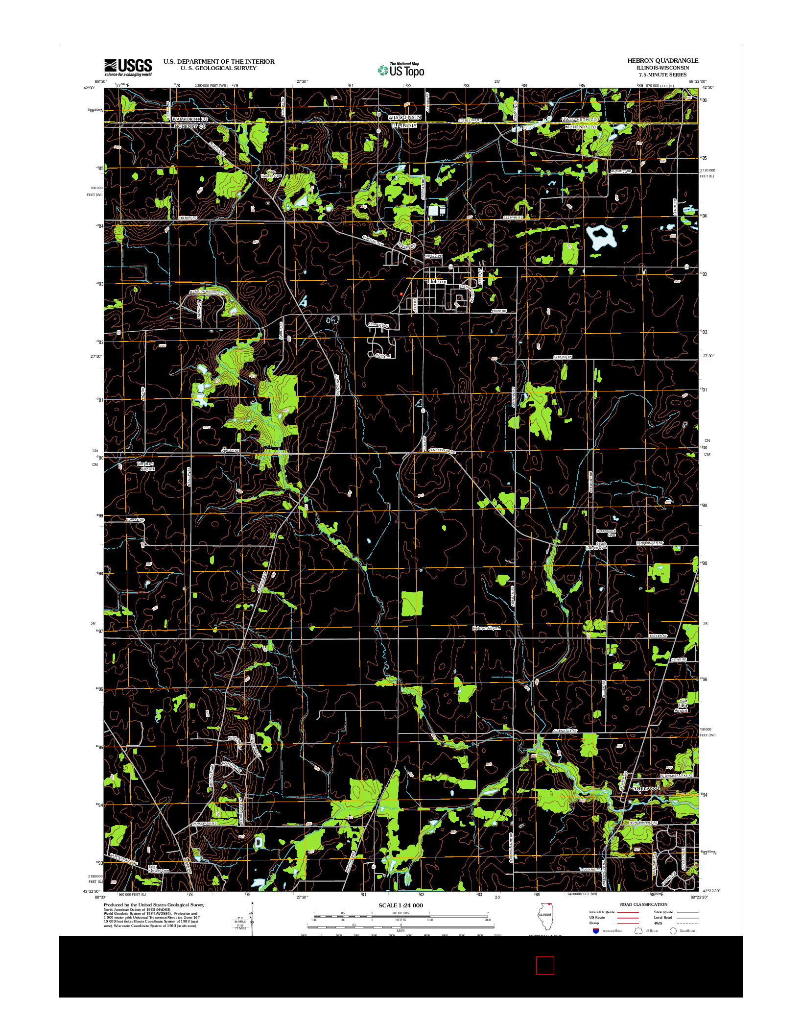 USGS US TOPO 7.5-MINUTE MAP FOR HEBRON, IL-WI 2012