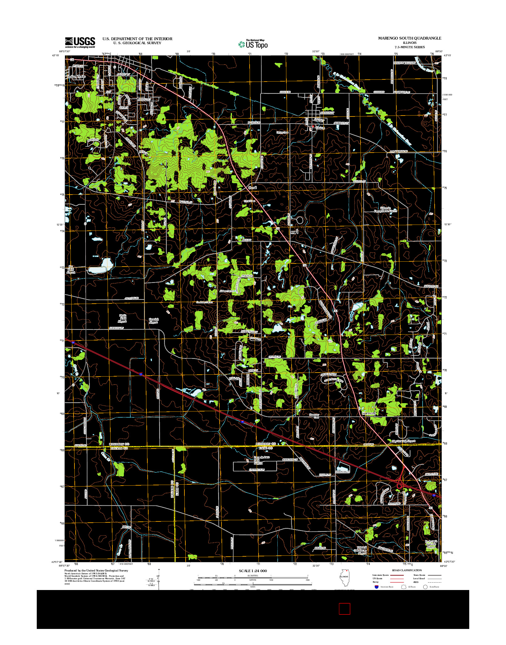 USGS US TOPO 7.5-MINUTE MAP FOR MARENGO SOUTH, IL 2012