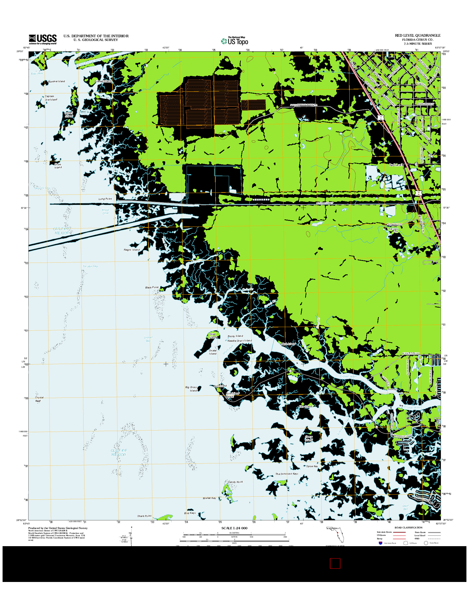 USGS US TOPO 7.5-MINUTE MAP FOR RED LEVEL, FL 2012