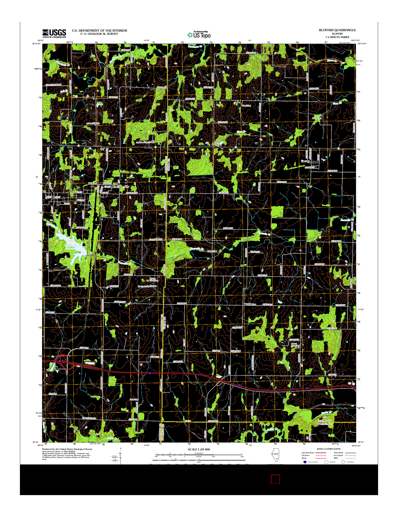USGS US TOPO 7.5-MINUTE MAP FOR BLUFORD, IL 2012