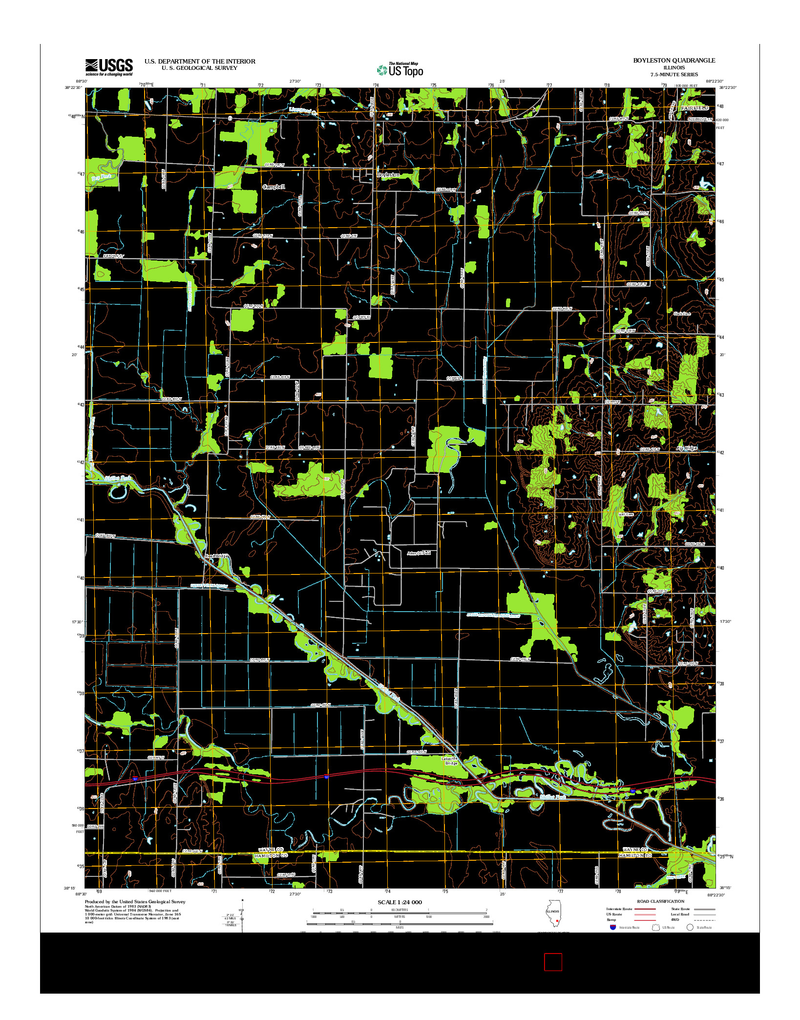 USGS US TOPO 7.5-MINUTE MAP FOR BOYLESTON, IL 2012