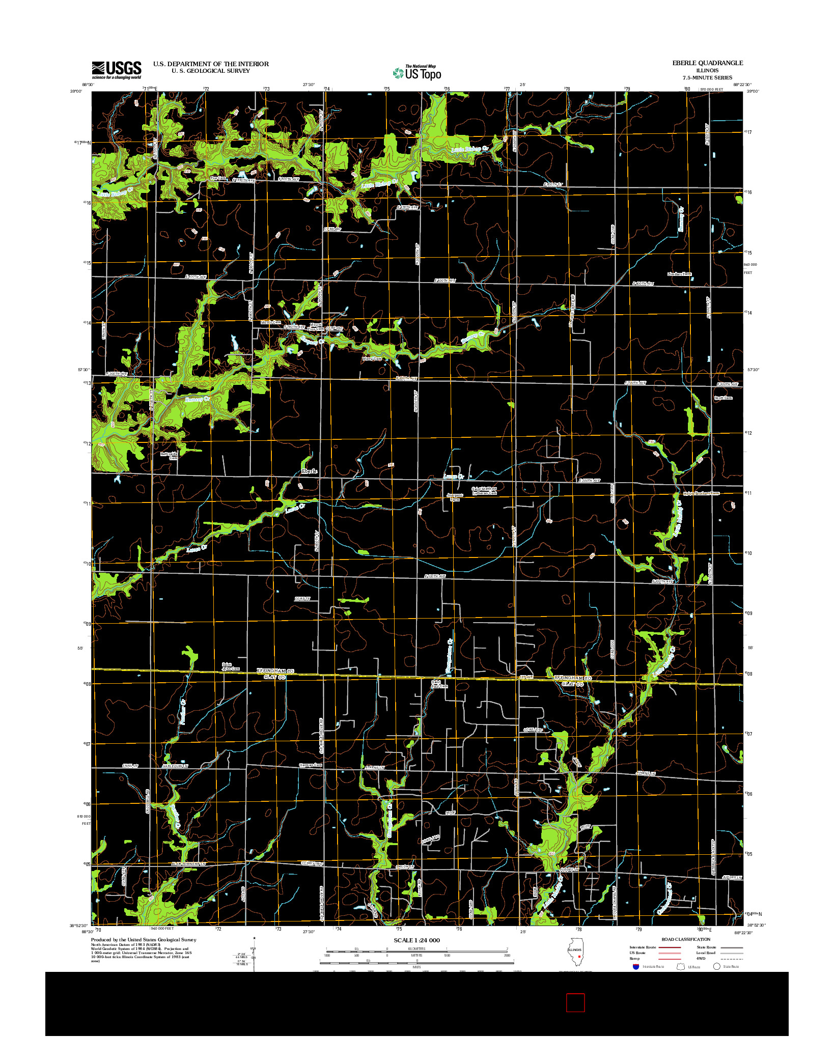 USGS US TOPO 7.5-MINUTE MAP FOR EBERLE, IL 2012