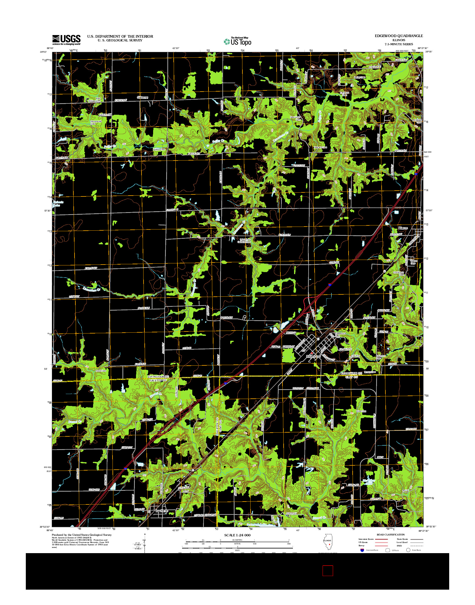 USGS US TOPO 7.5-MINUTE MAP FOR EDGEWOOD, IL 2012