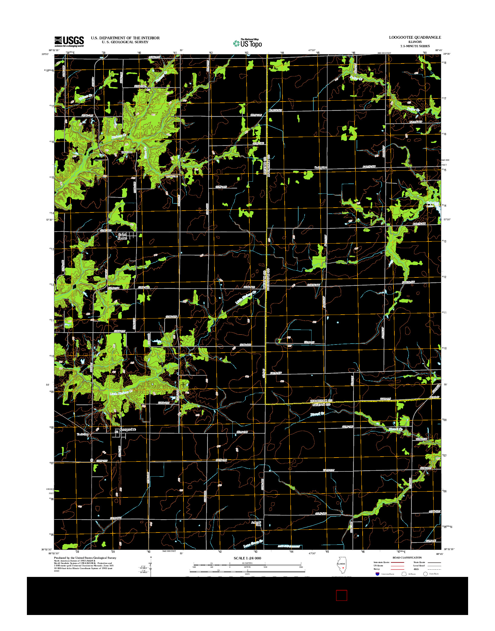 USGS US TOPO 7.5-MINUTE MAP FOR LOOGOOTEE, IL 2012