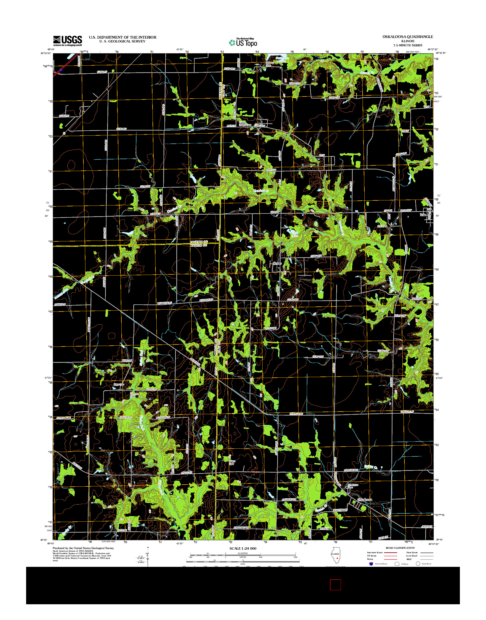 USGS US TOPO 7.5-MINUTE MAP FOR OSKALOOSA, IL 2012