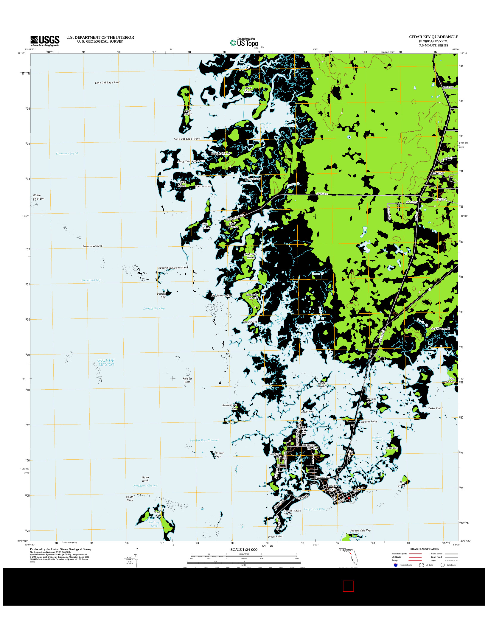 USGS US TOPO 7.5-MINUTE MAP FOR CEDAR KEY, FL 2012
