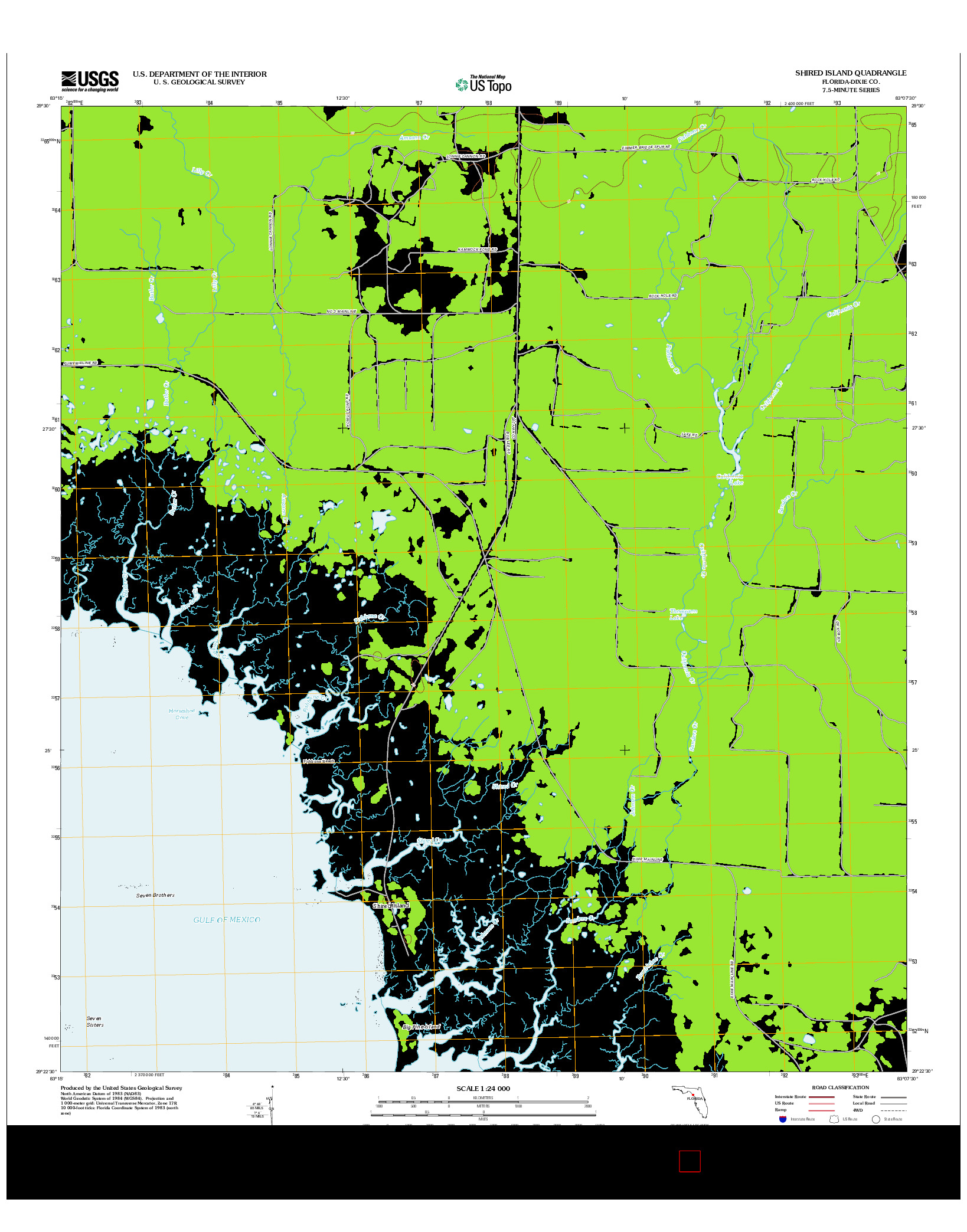 USGS US TOPO 7.5-MINUTE MAP FOR SHIRED ISLAND, FL 2012