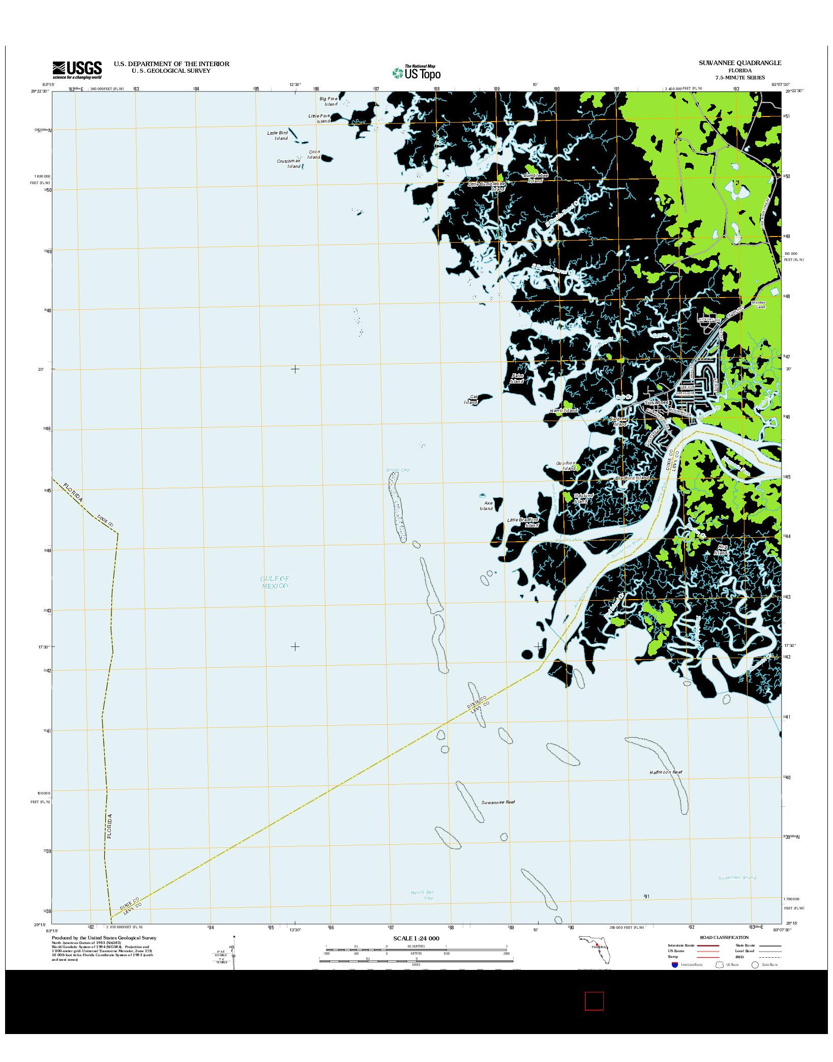 USGS US TOPO 7.5-MINUTE MAP FOR SUWANNEE, FL 2012