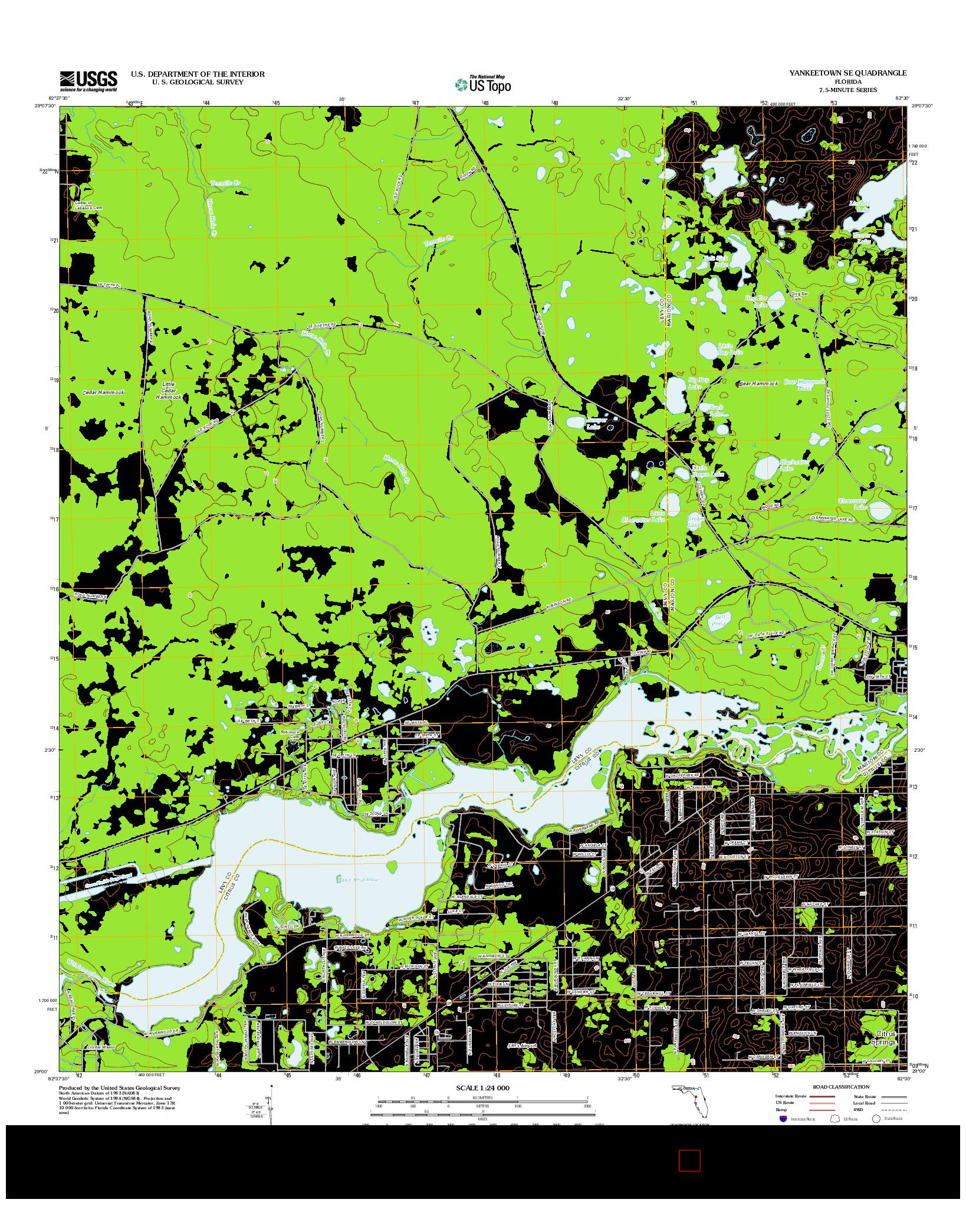 USGS US TOPO 7.5-MINUTE MAP FOR YANKEETOWN SE, FL 2012
