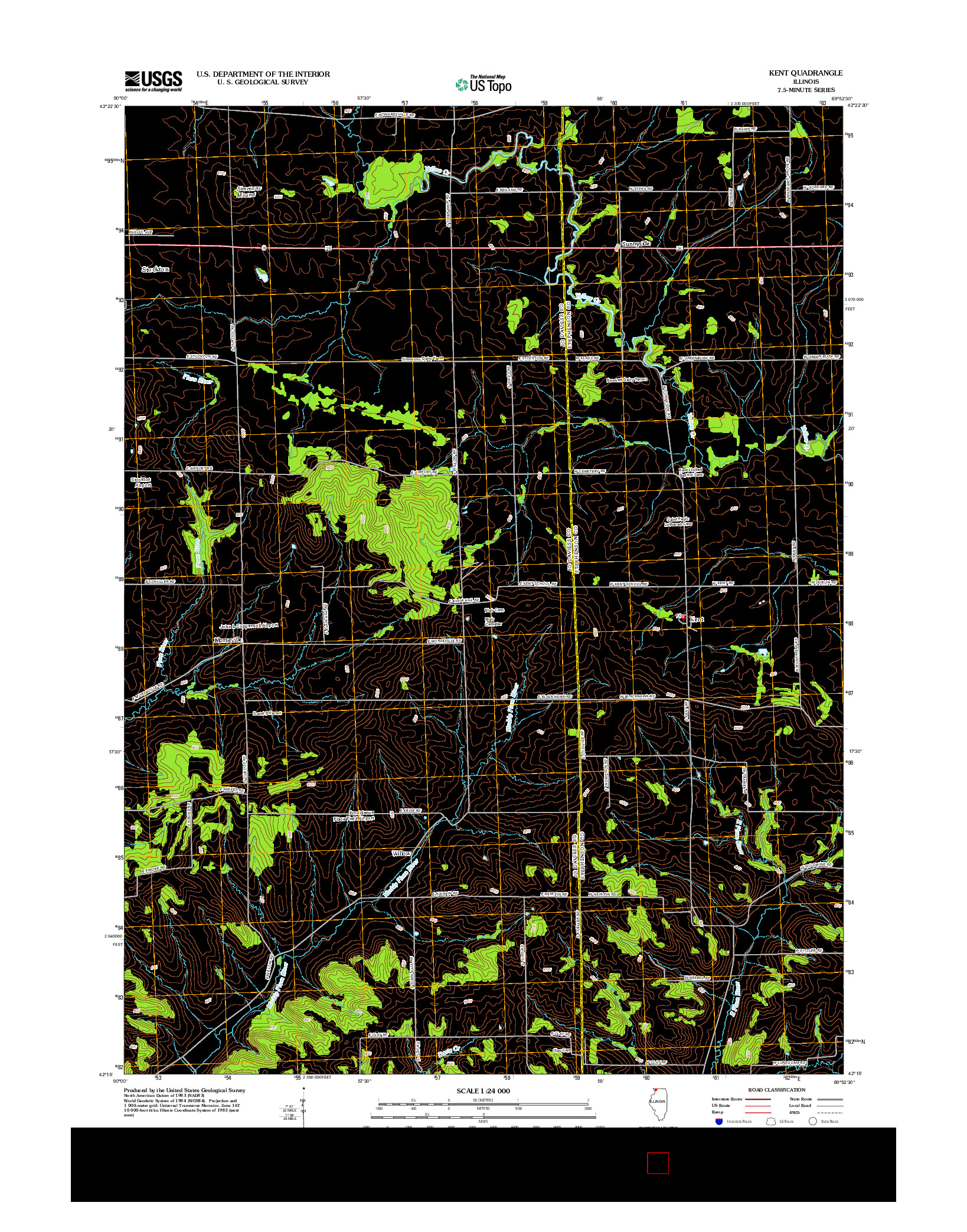 USGS US TOPO 7.5-MINUTE MAP FOR KENT, IL 2012