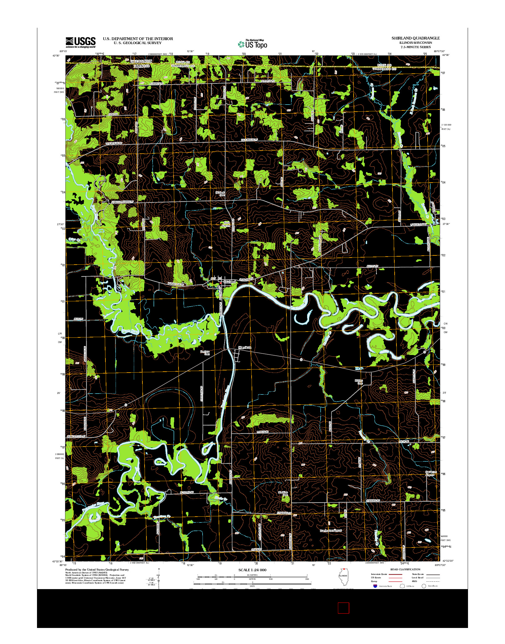 USGS US TOPO 7.5-MINUTE MAP FOR SHIRLAND, IL-WI 2012