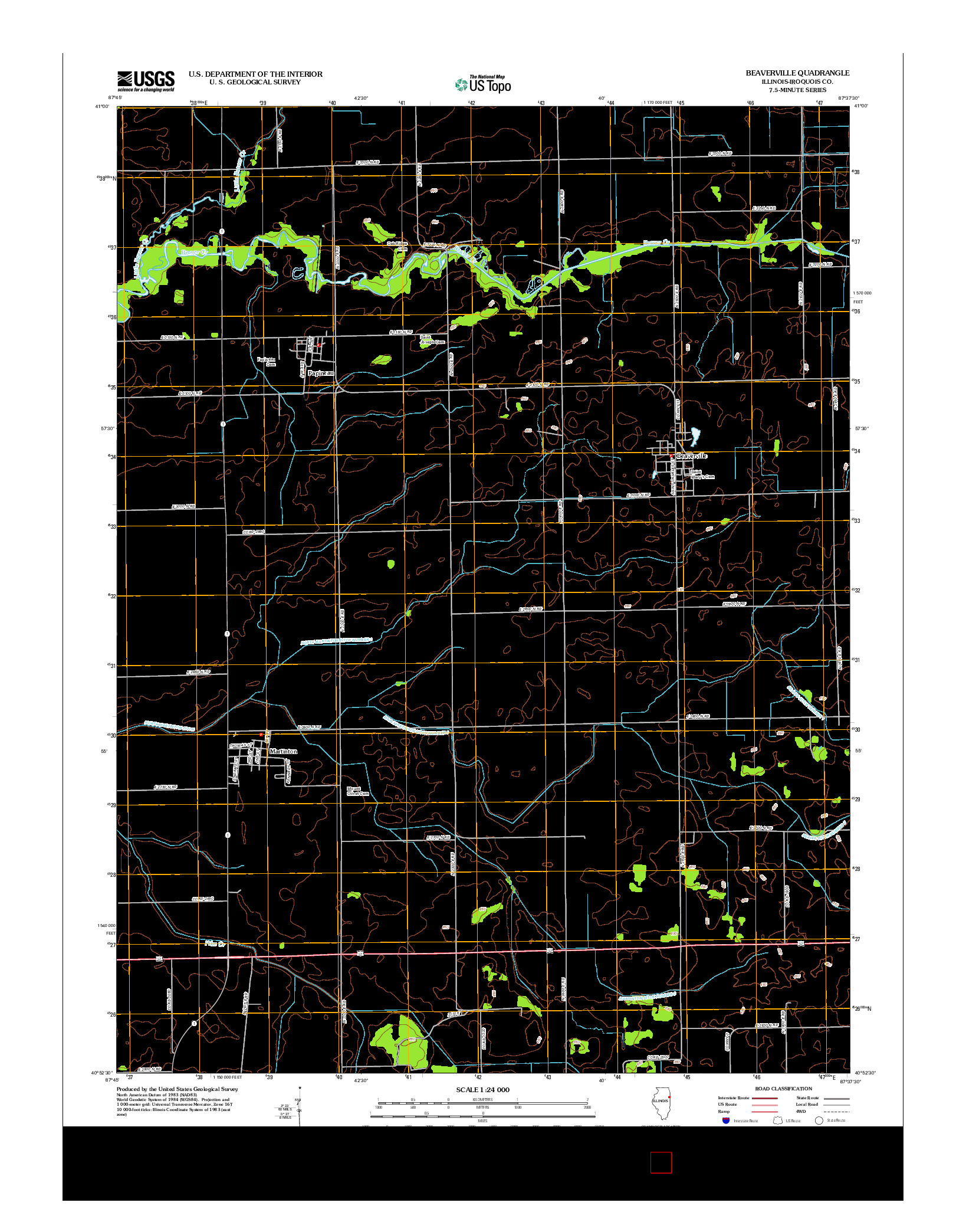 USGS US TOPO 7.5-MINUTE MAP FOR BEAVERVILLE, IL 2012