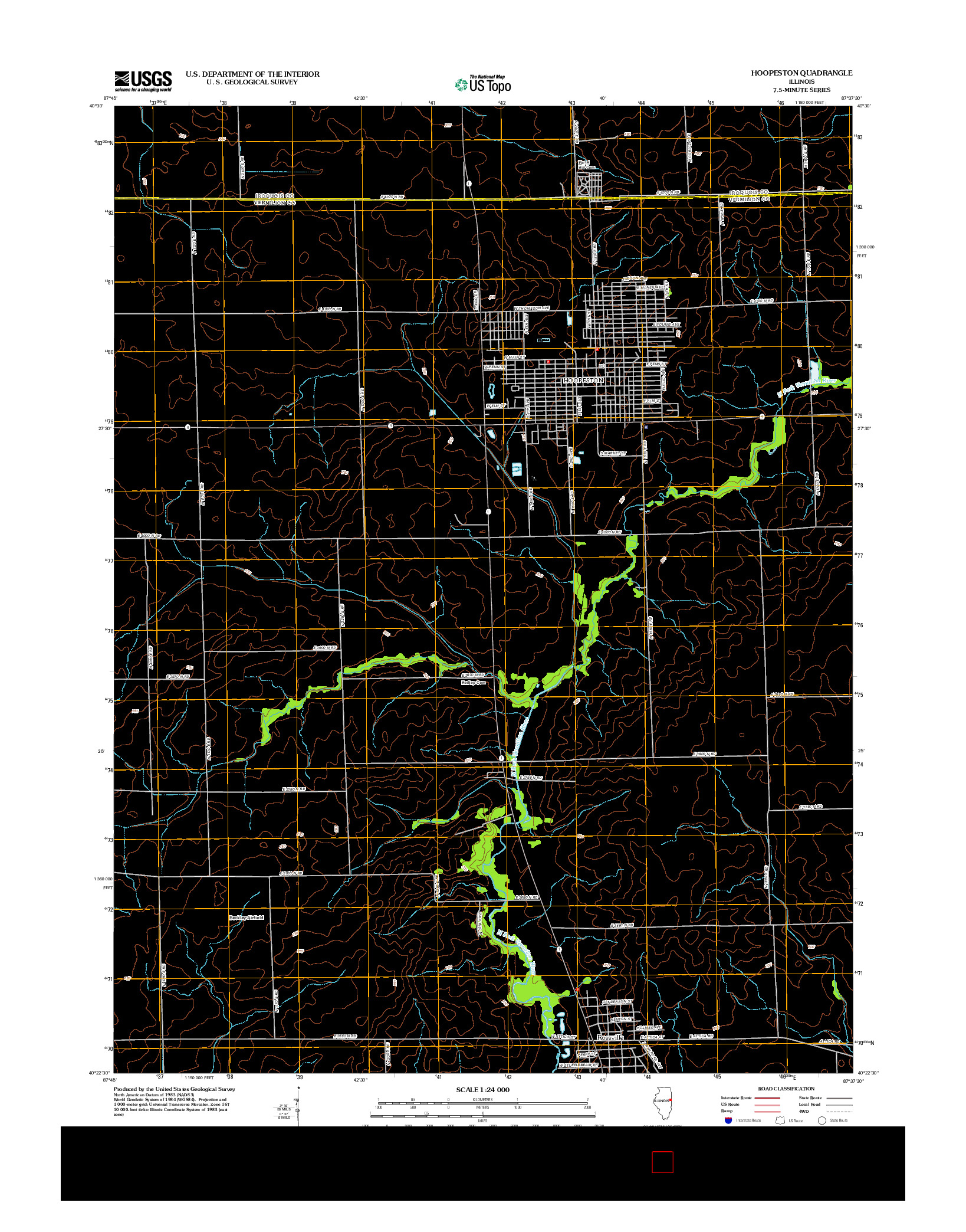 USGS US TOPO 7.5-MINUTE MAP FOR HOOPESTON, IL 2012