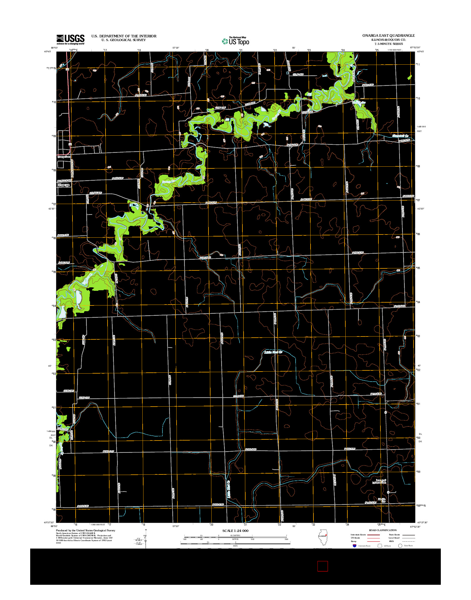 USGS US TOPO 7.5-MINUTE MAP FOR ONARGA EAST, IL 2012