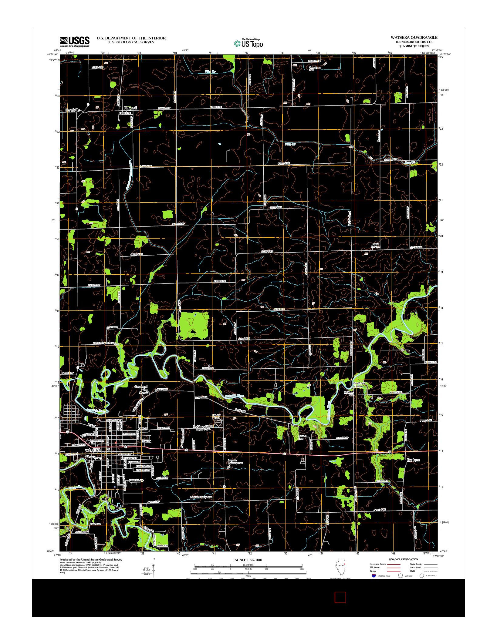 USGS US TOPO 7.5-MINUTE MAP FOR WATSEKA, IL 2012