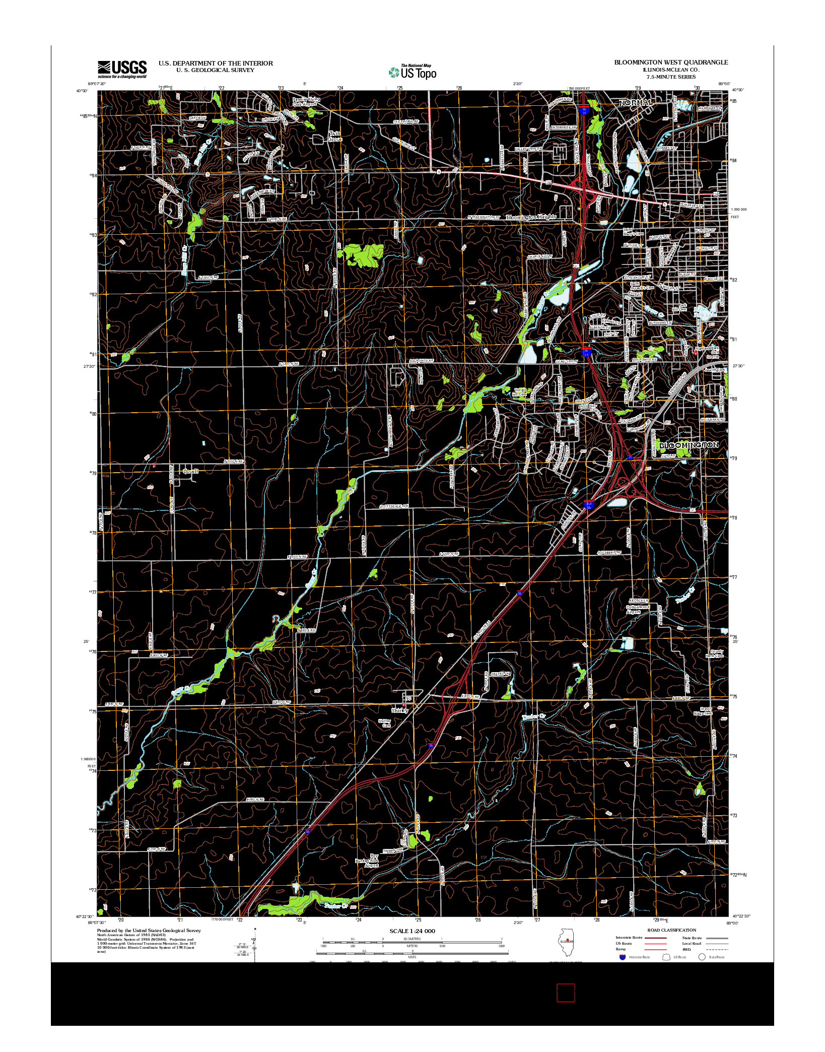 USGS US TOPO 7.5-MINUTE MAP FOR BLOOMINGTON WEST, IL 2012
