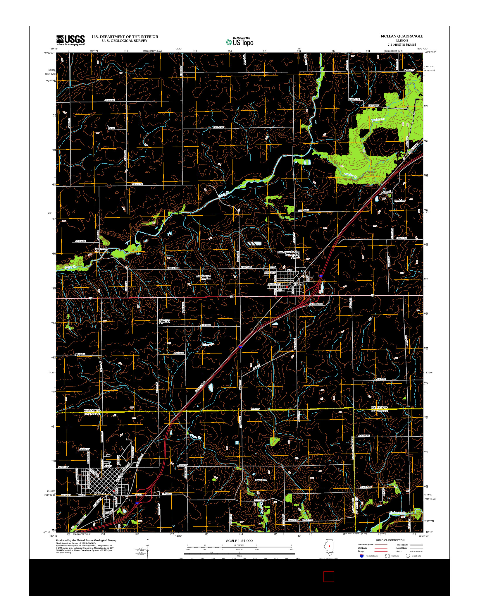 USGS US TOPO 7.5-MINUTE MAP FOR MCLEAN, IL 2012