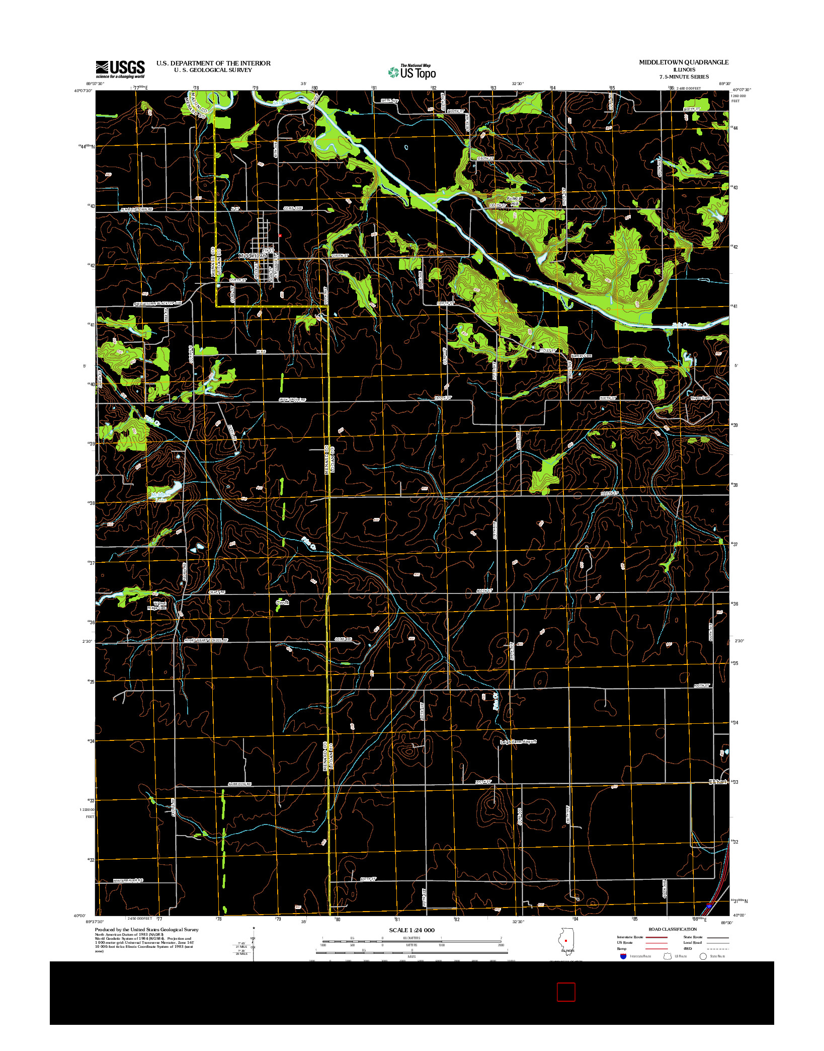 USGS US TOPO 7.5-MINUTE MAP FOR MIDDLETOWN, IL 2012