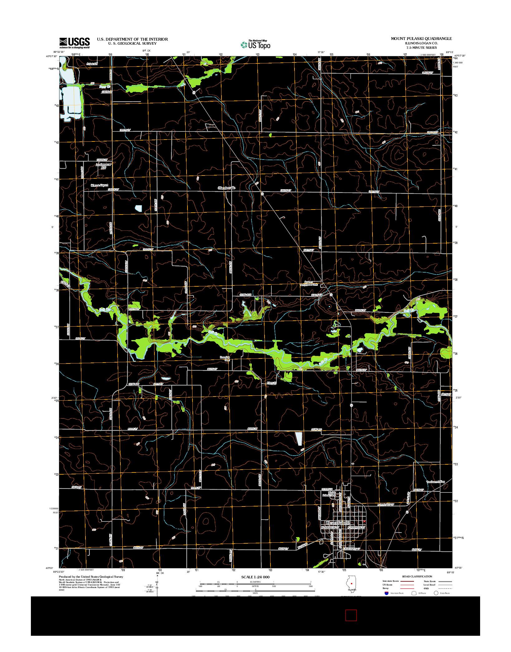 USGS US TOPO 7.5-MINUTE MAP FOR MOUNT PULASKI, IL 2012