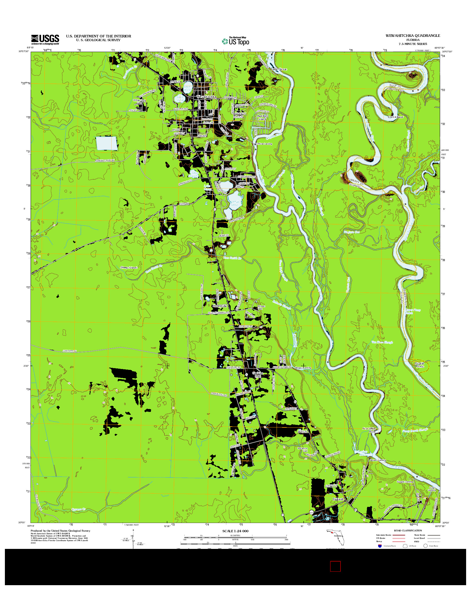 USGS US TOPO 7.5-MINUTE MAP FOR WEWAHITCHKA, FL 2012