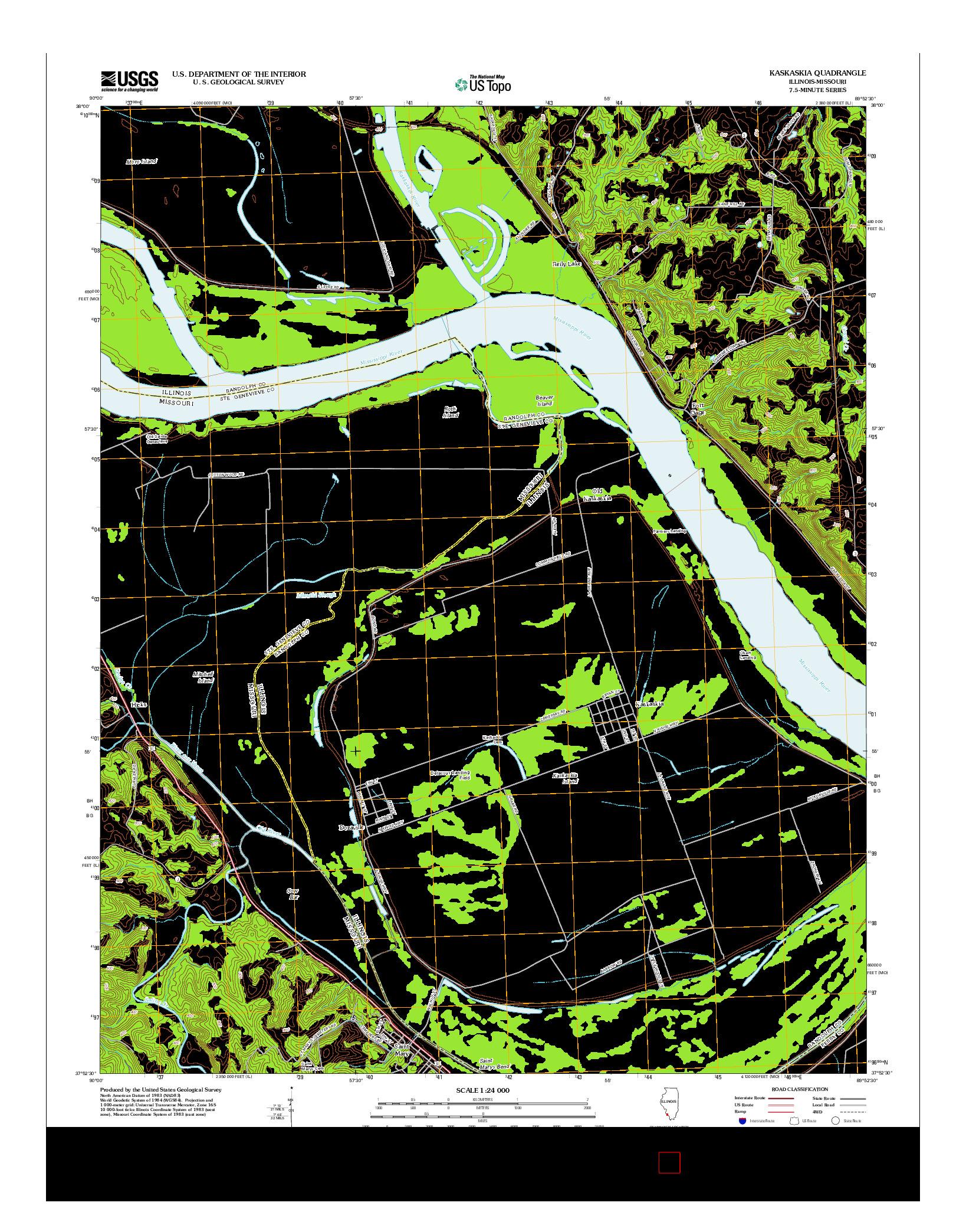 USGS US TOPO 7.5-MINUTE MAP FOR KASKASKIA, IL-MO 2012