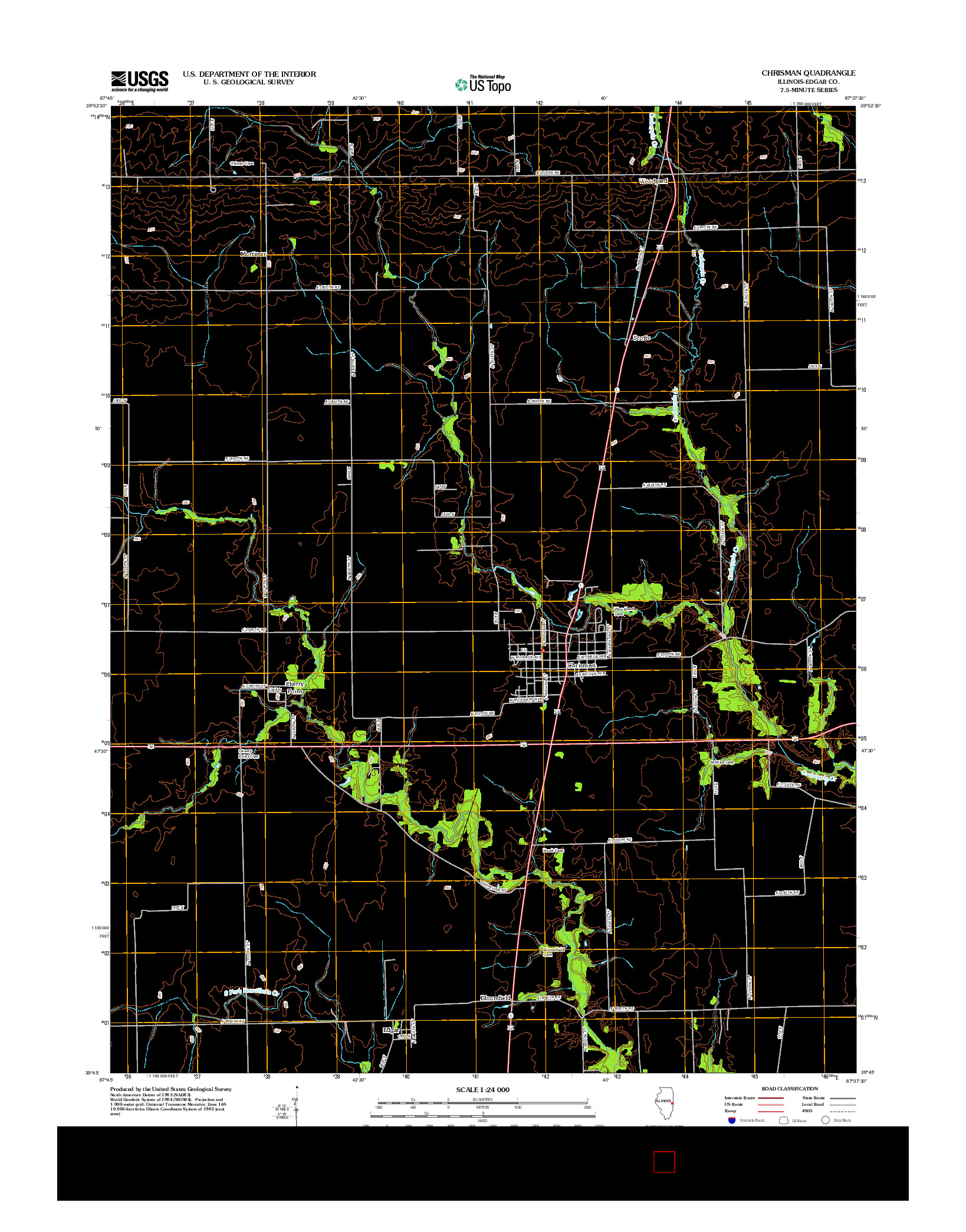 USGS US TOPO 7.5-MINUTE MAP FOR CHRISMAN, IL 2012