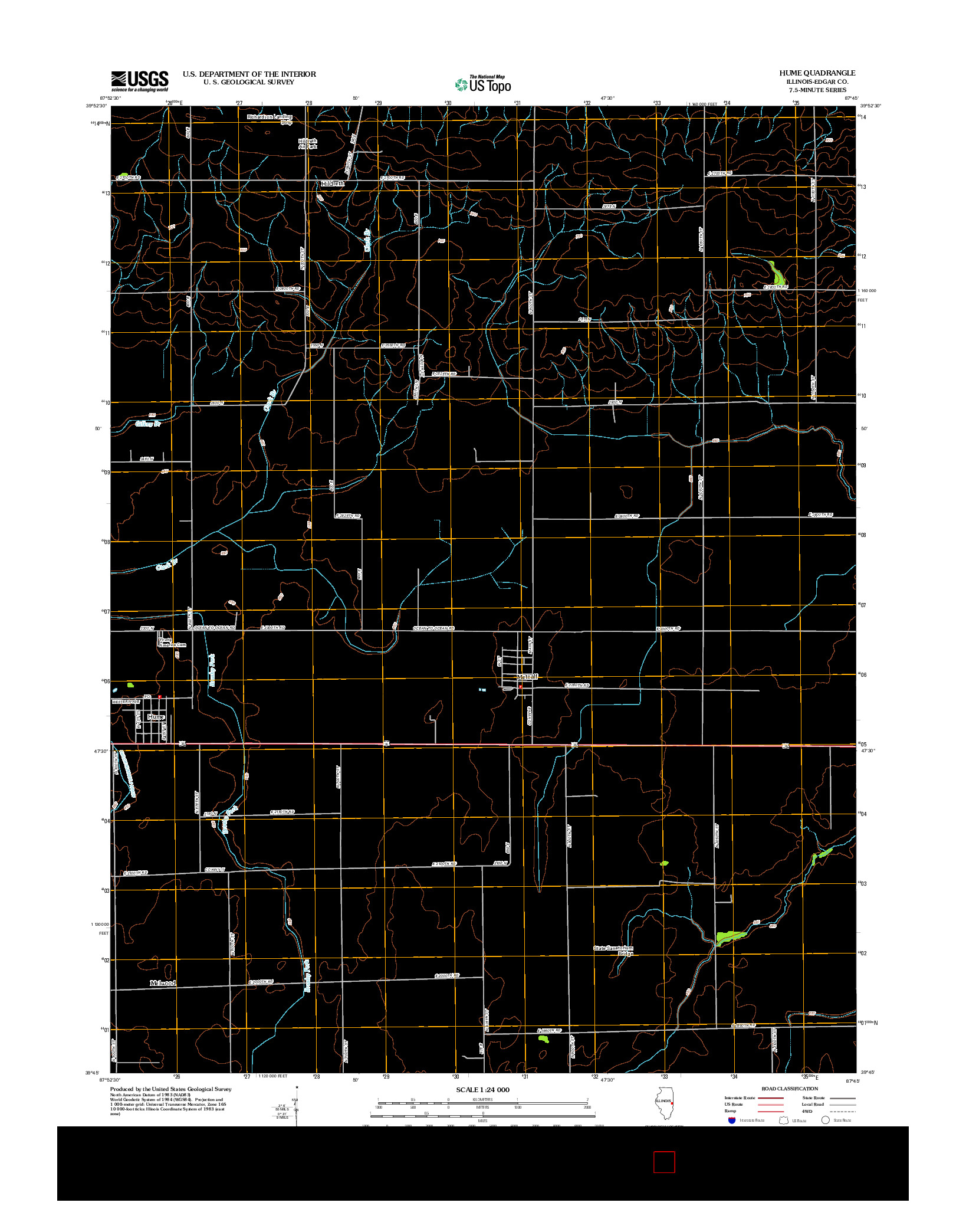 USGS US TOPO 7.5-MINUTE MAP FOR HUME, IL 2012