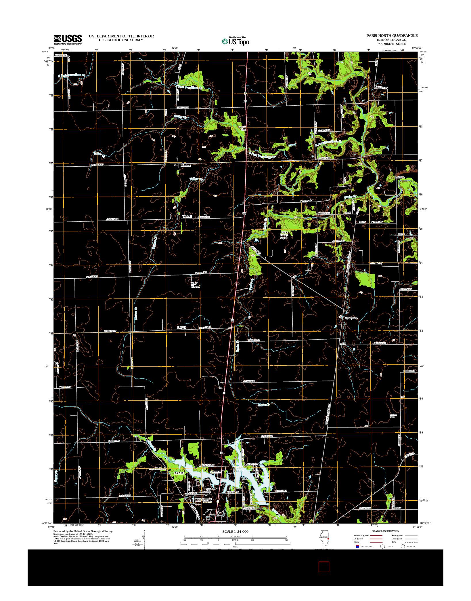 USGS US TOPO 7.5-MINUTE MAP FOR PARIS NORTH, IL 2012