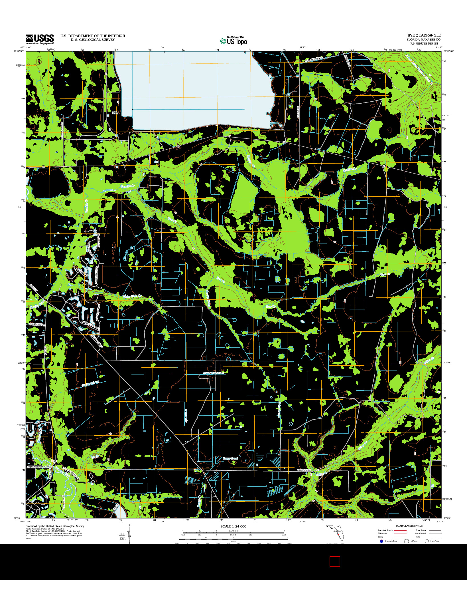 USGS US TOPO 7.5-MINUTE MAP FOR RYE, FL 2012