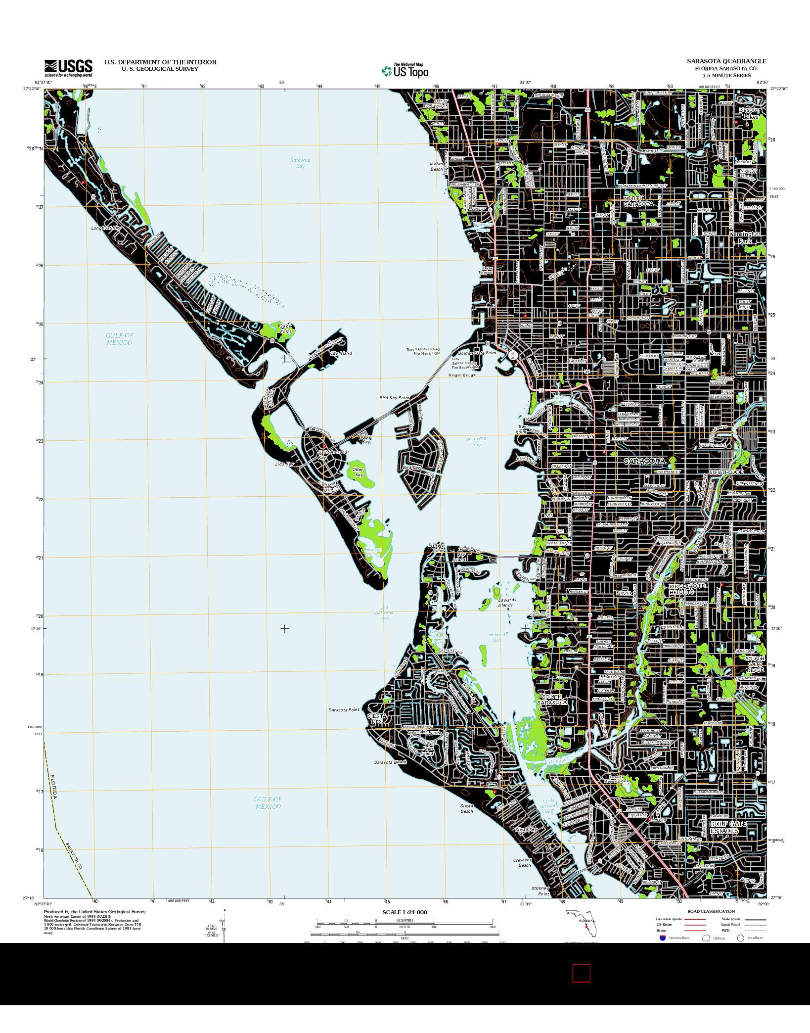 USGS US TOPO 7.5-MINUTE MAP FOR SARASOTA, FL 2012
